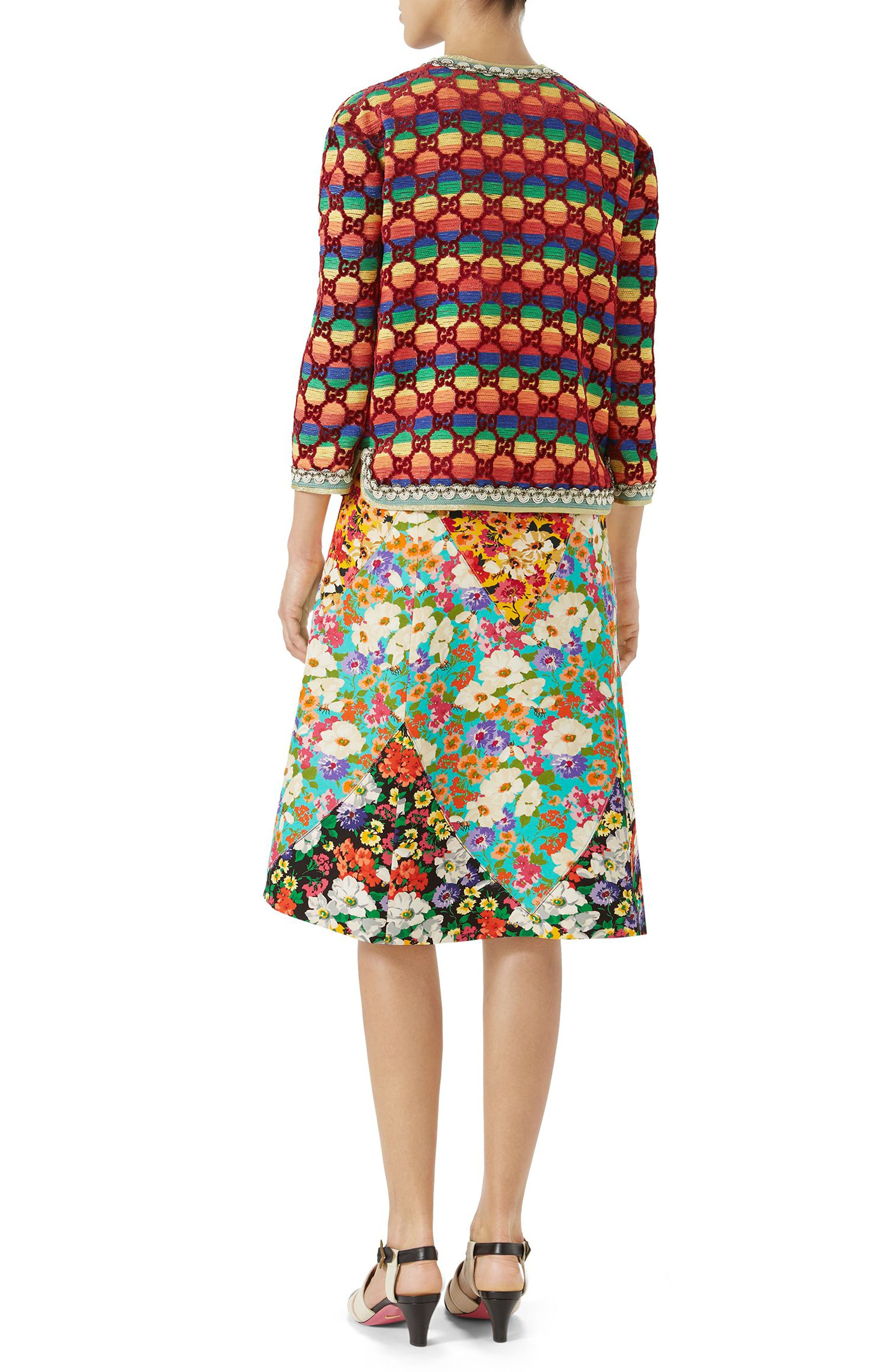 Floral Print Cady A-Line Skirt,                             Alternate thumbnail 4, color,                             Yellow-Multicolor