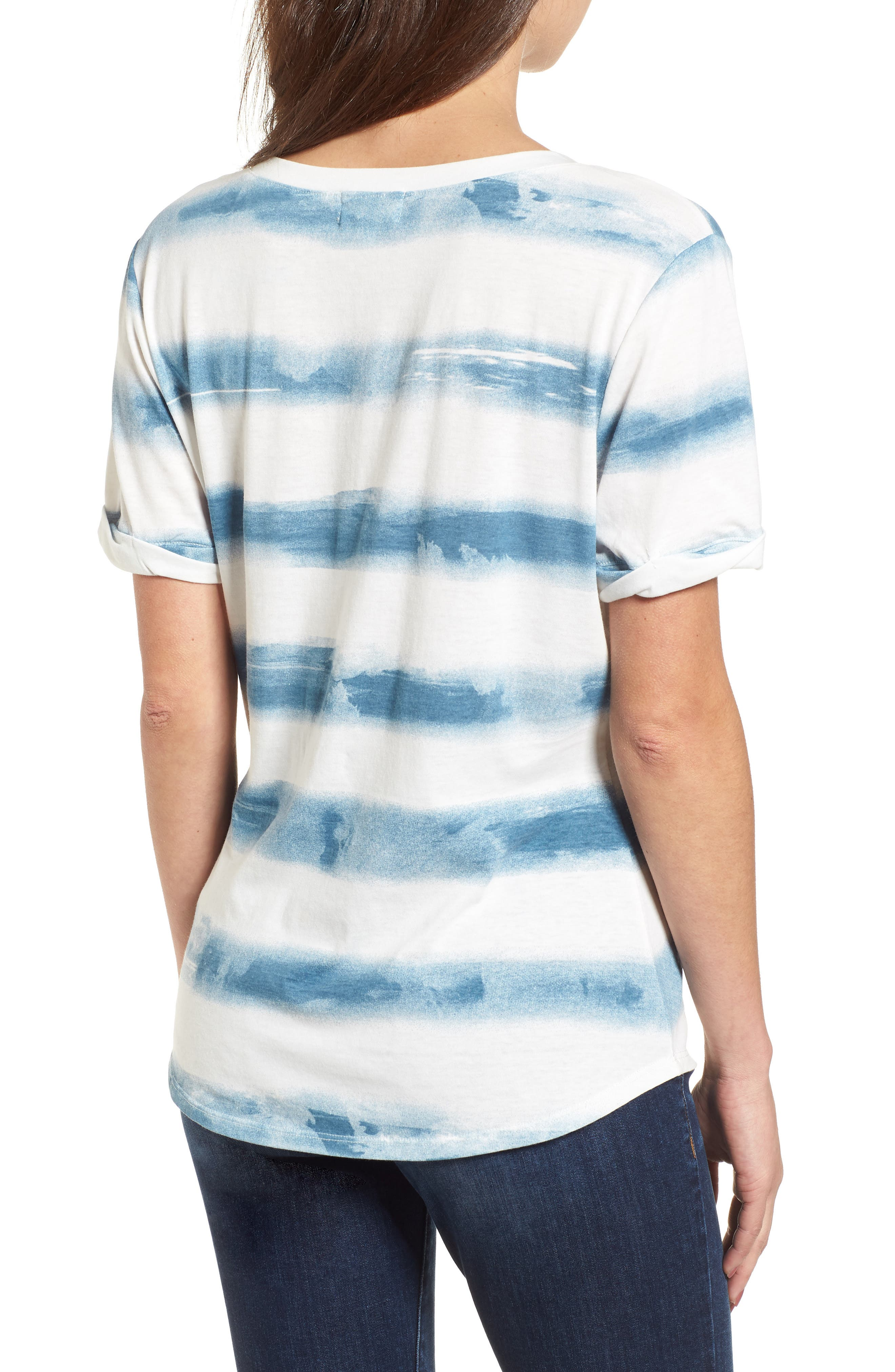 Stripe Roll Sleeve Tee,                             Alternate thumbnail 2, color,                             Off White/ Blue Burnout Stripe