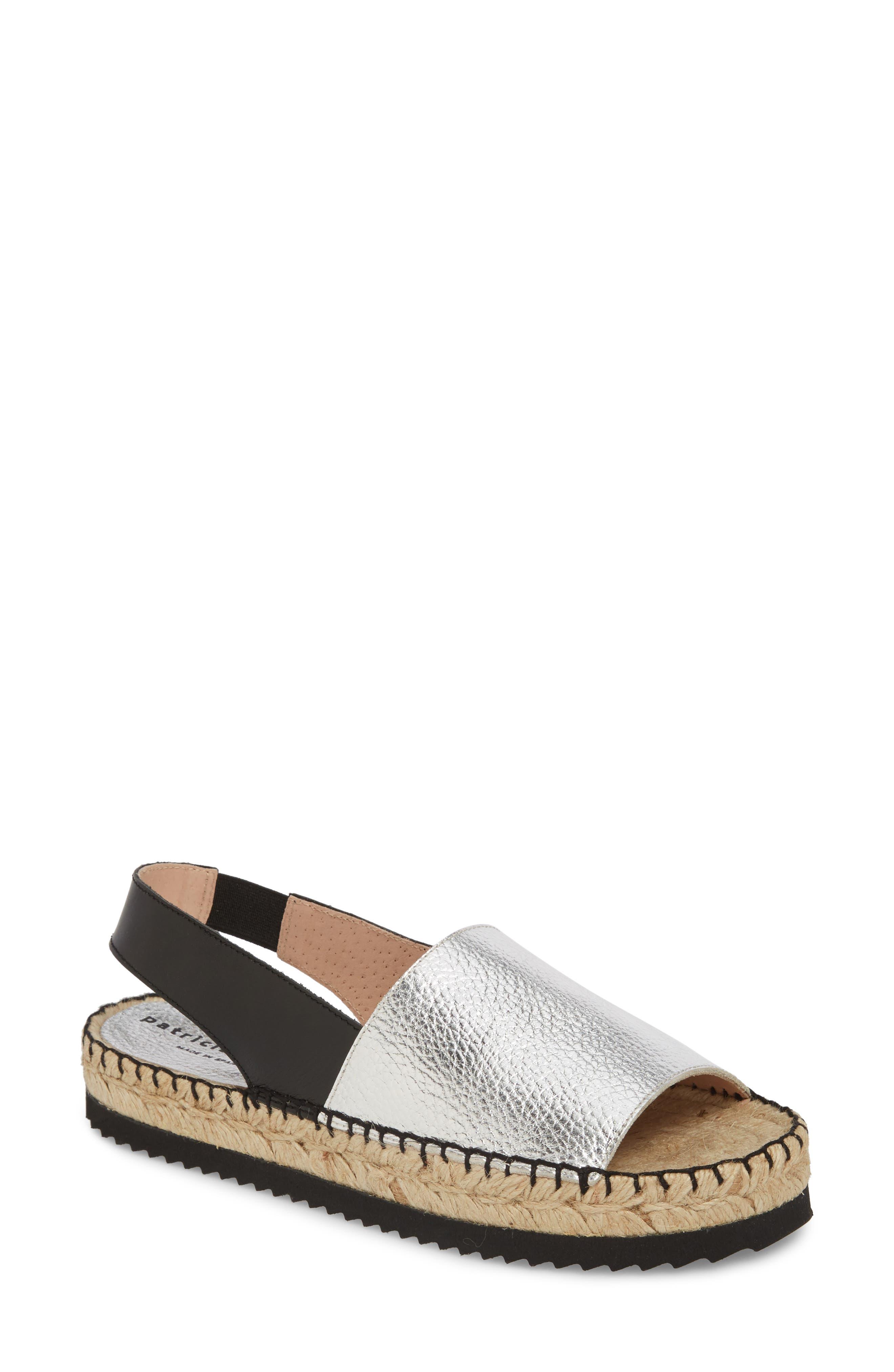 Soho Platform Espadrille Sandal,                         Main,                         color, Silver Suede
