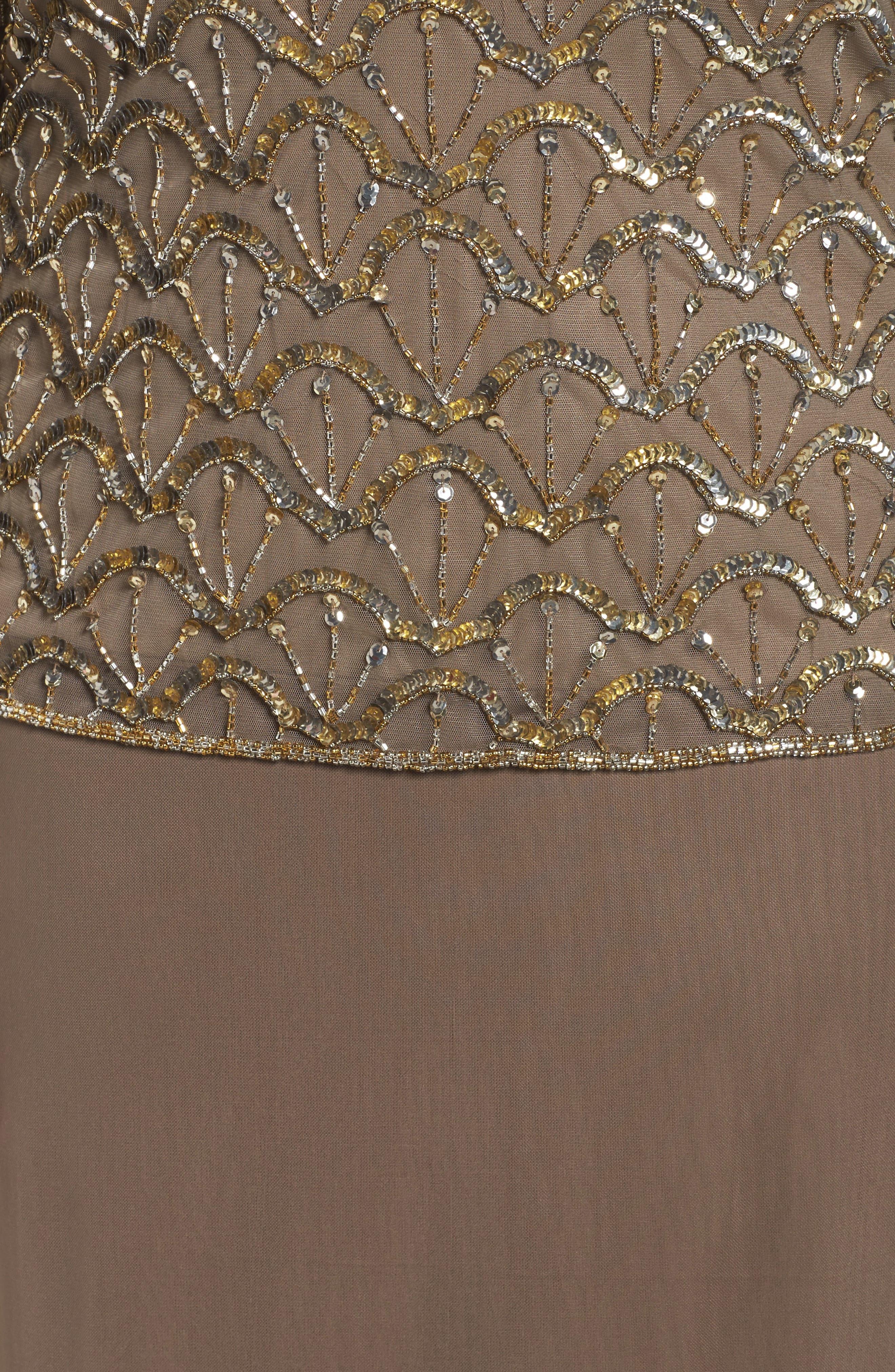 Embellished Off the Shoulder Gown,                             Alternate thumbnail 5, color,                             Mocha