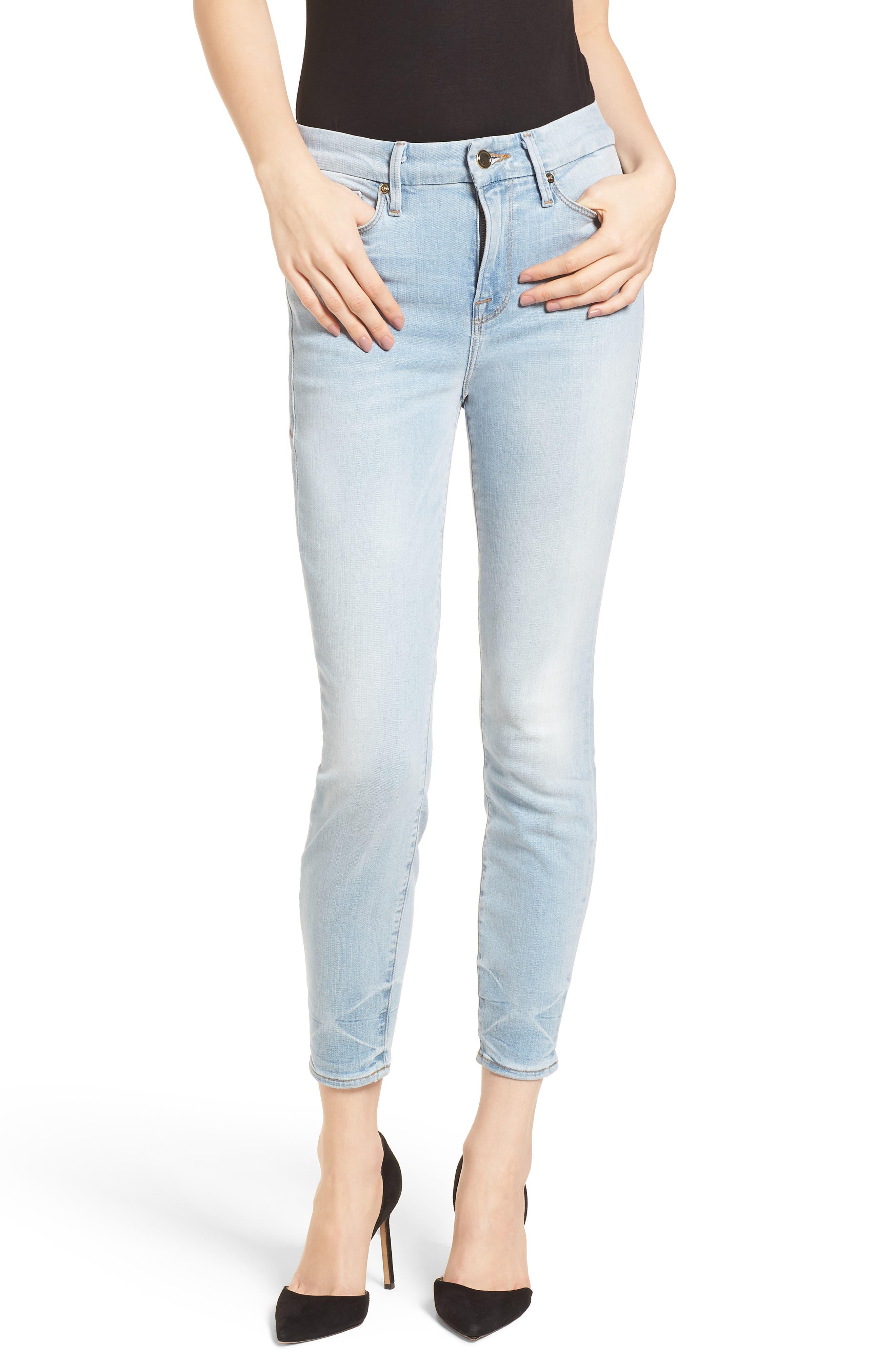Good American Good Legs High Waist Crop Skinny Jeans (Blue 124) (Regular & Plus Size)