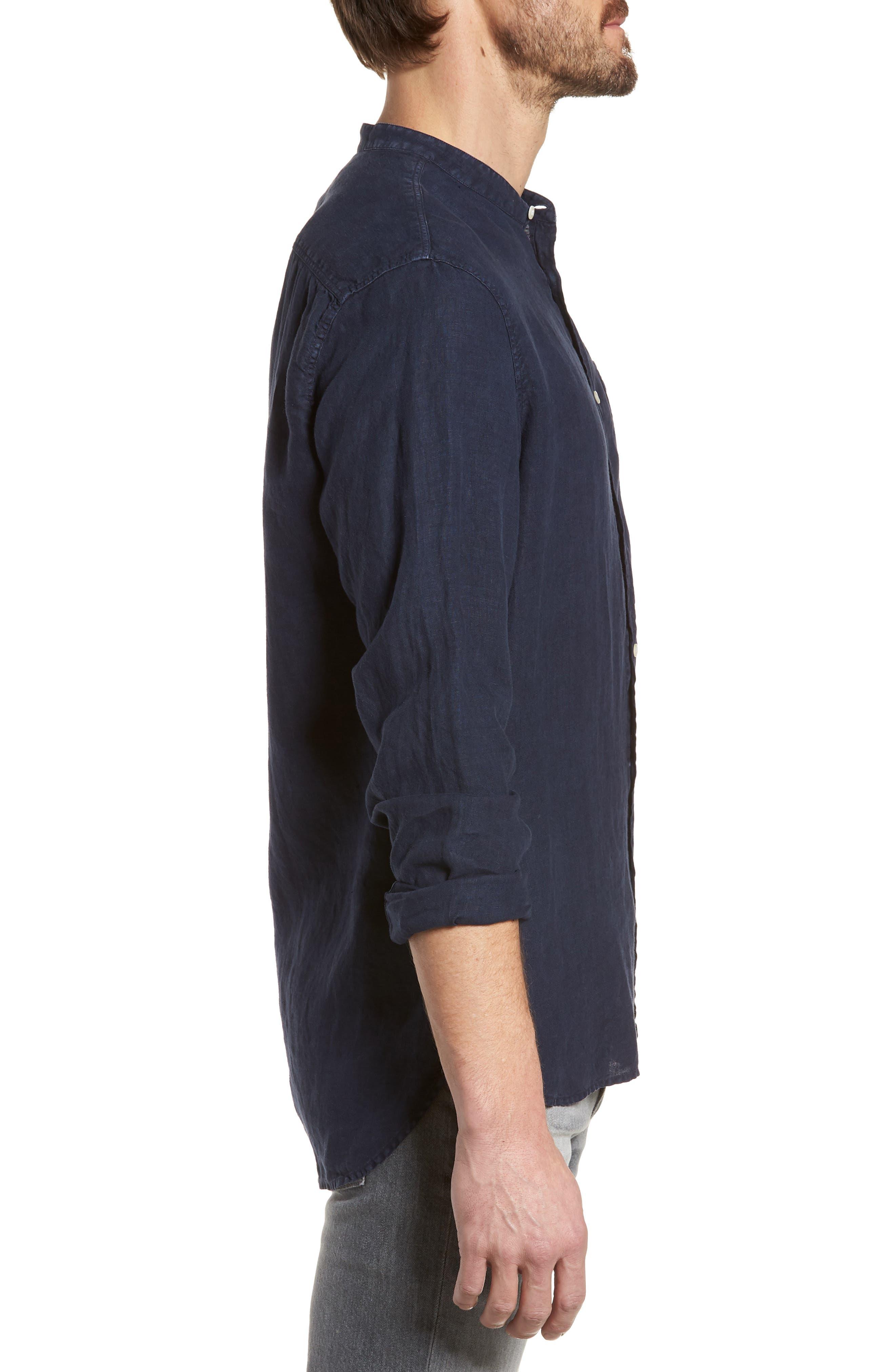 & Bros. Regular Fit Band Collar Linen Shirt,                             Alternate thumbnail 3, color,                             Mood Indigo