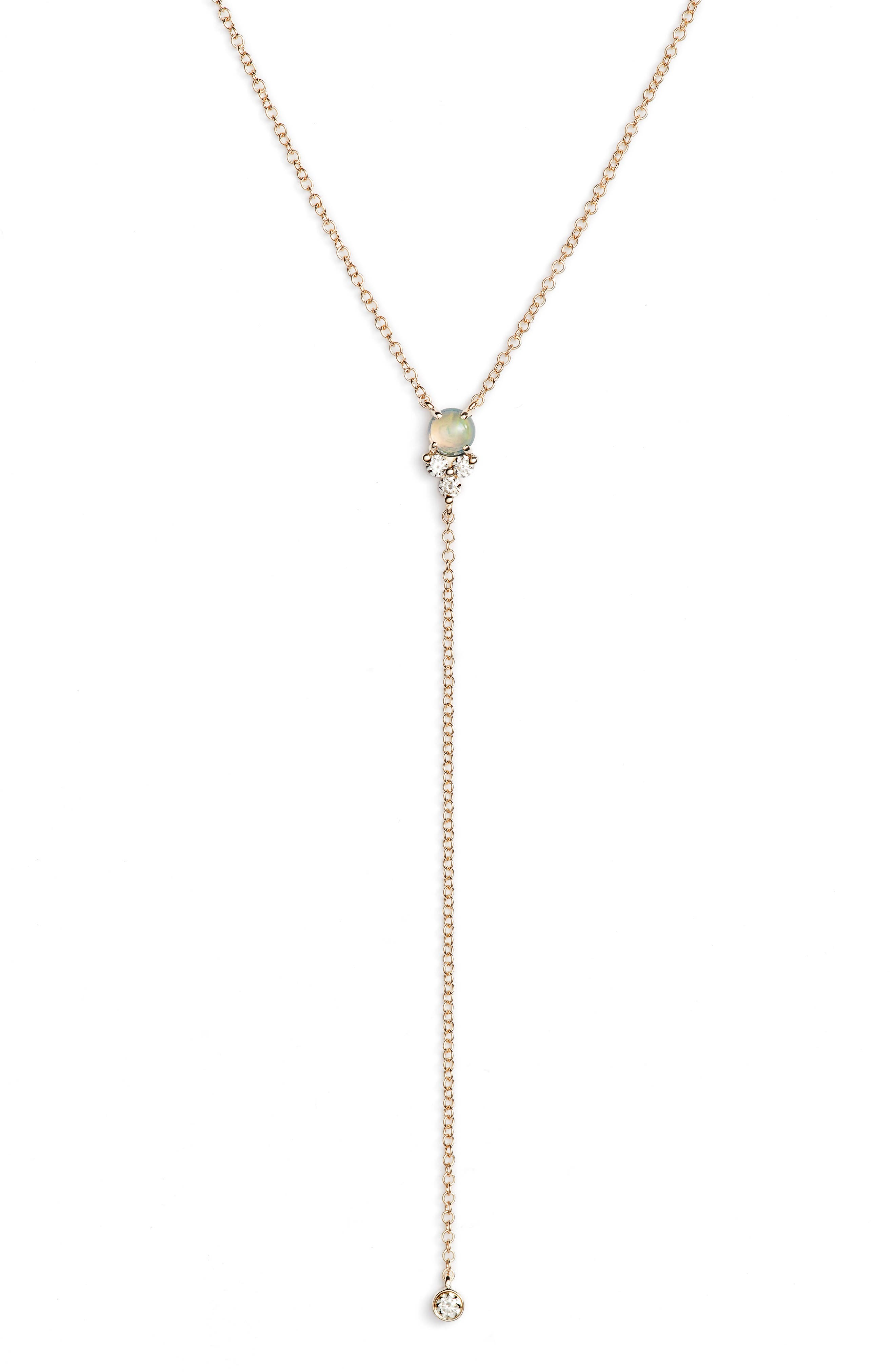 EF COLLECTION Diamond Trio Stone Lariat Necklace