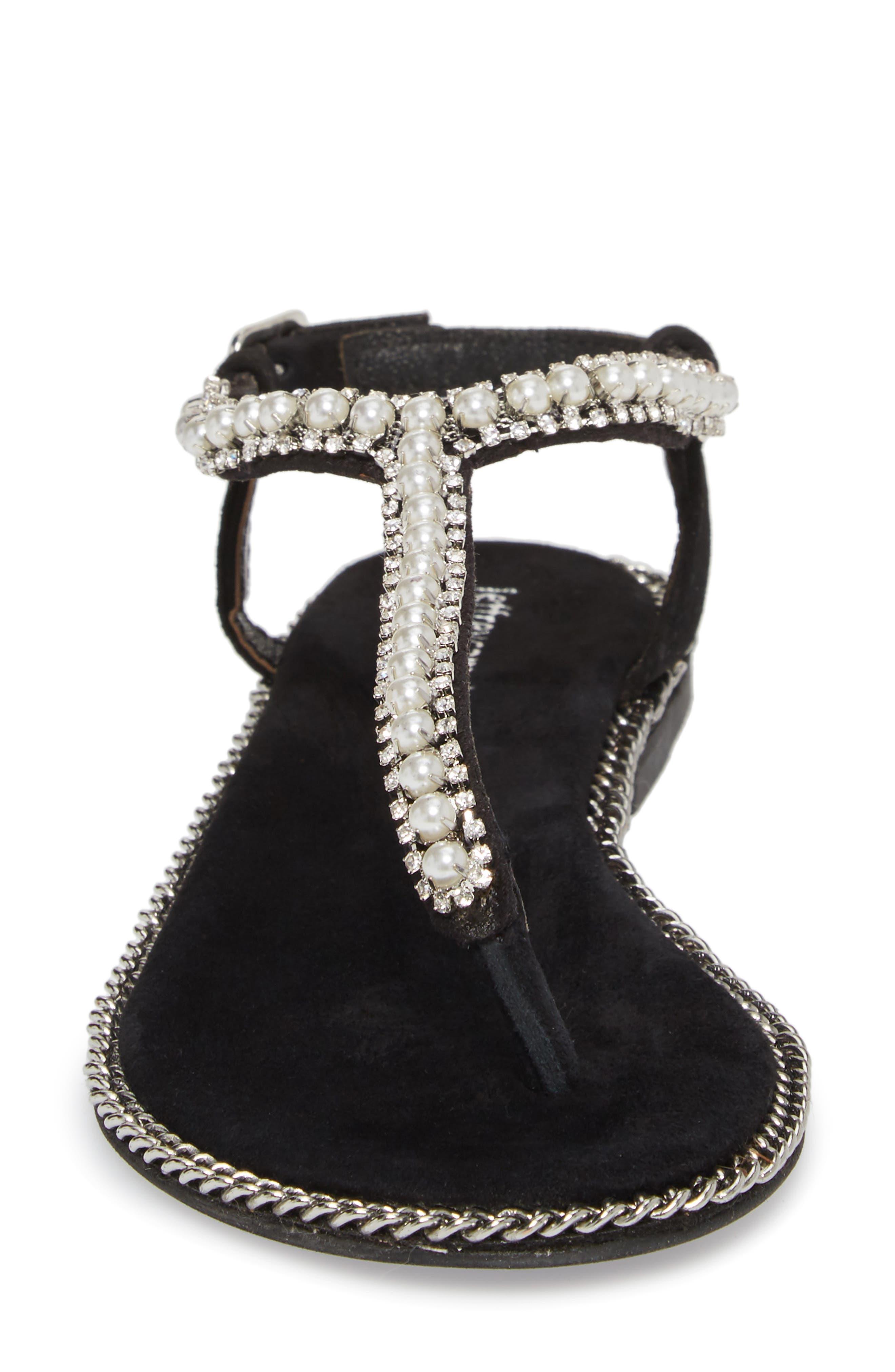 Embellished Ankle Strap Sandal,                             Alternate thumbnail 4, color,                             Black Suede