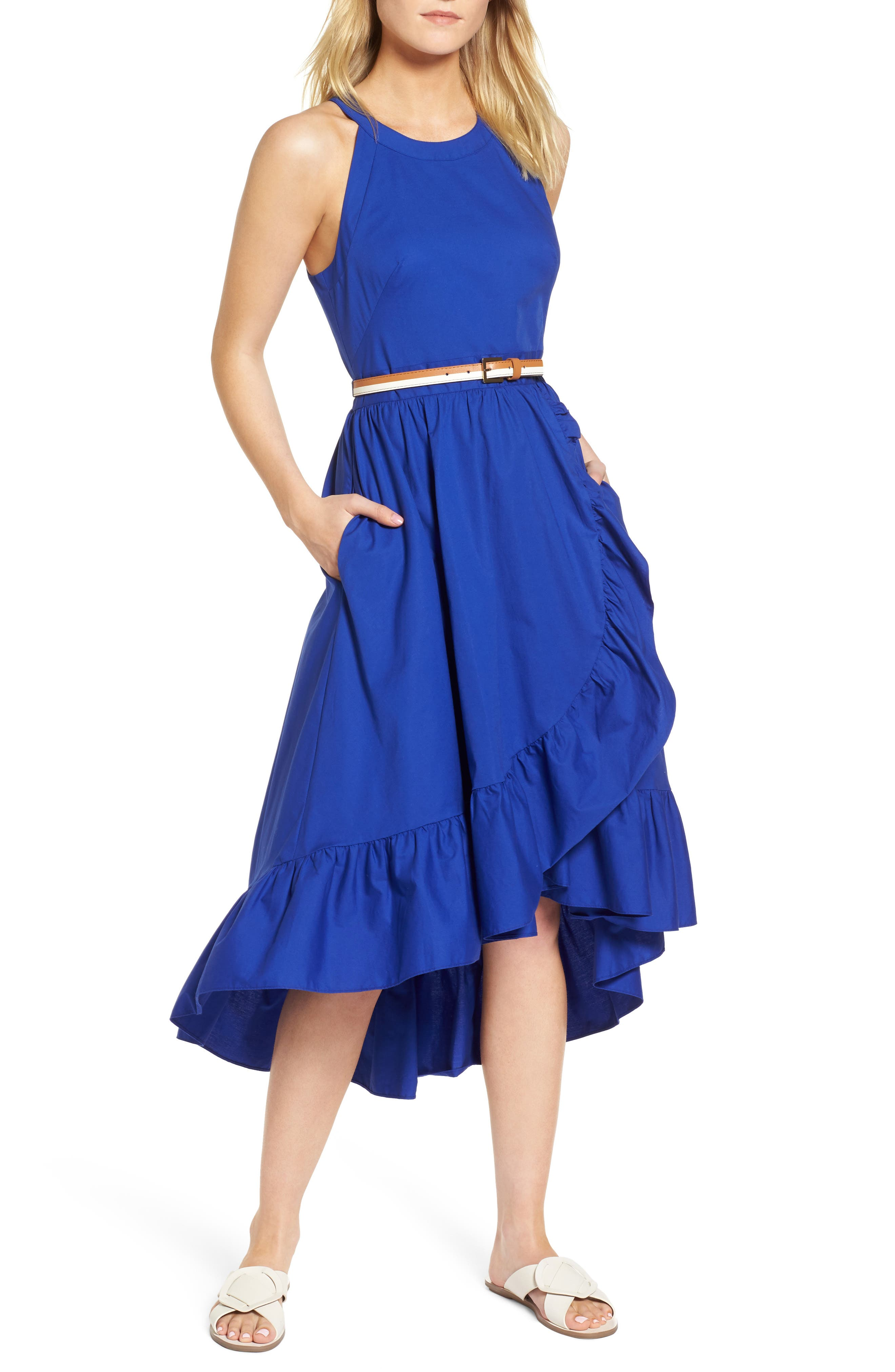 Belted High/Low Dress,                             Main thumbnail 1, color,                             Blue Mazarine