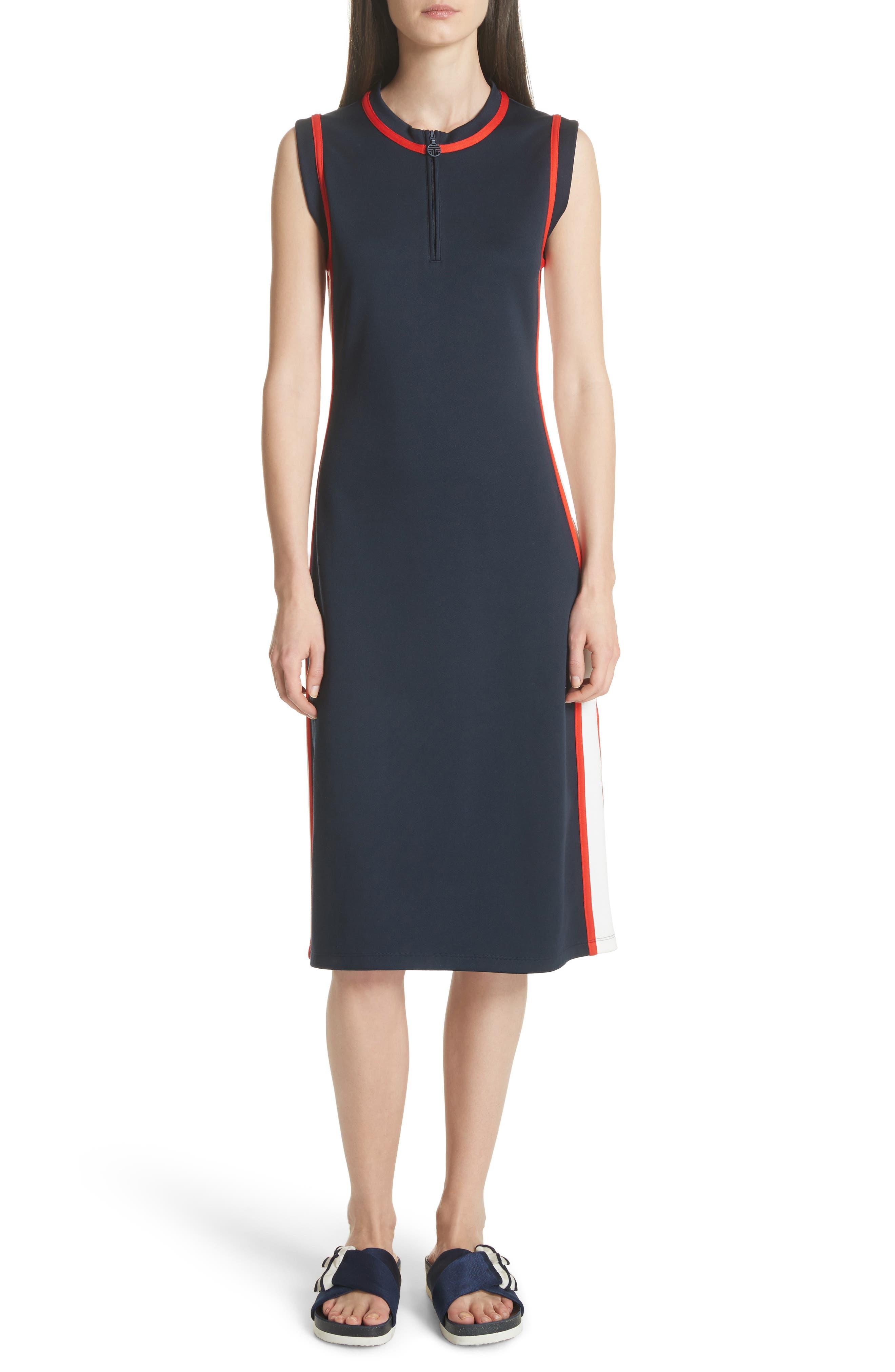 Sleeveless Track Dress,                             Main thumbnail 1, color,                             Tory Navy