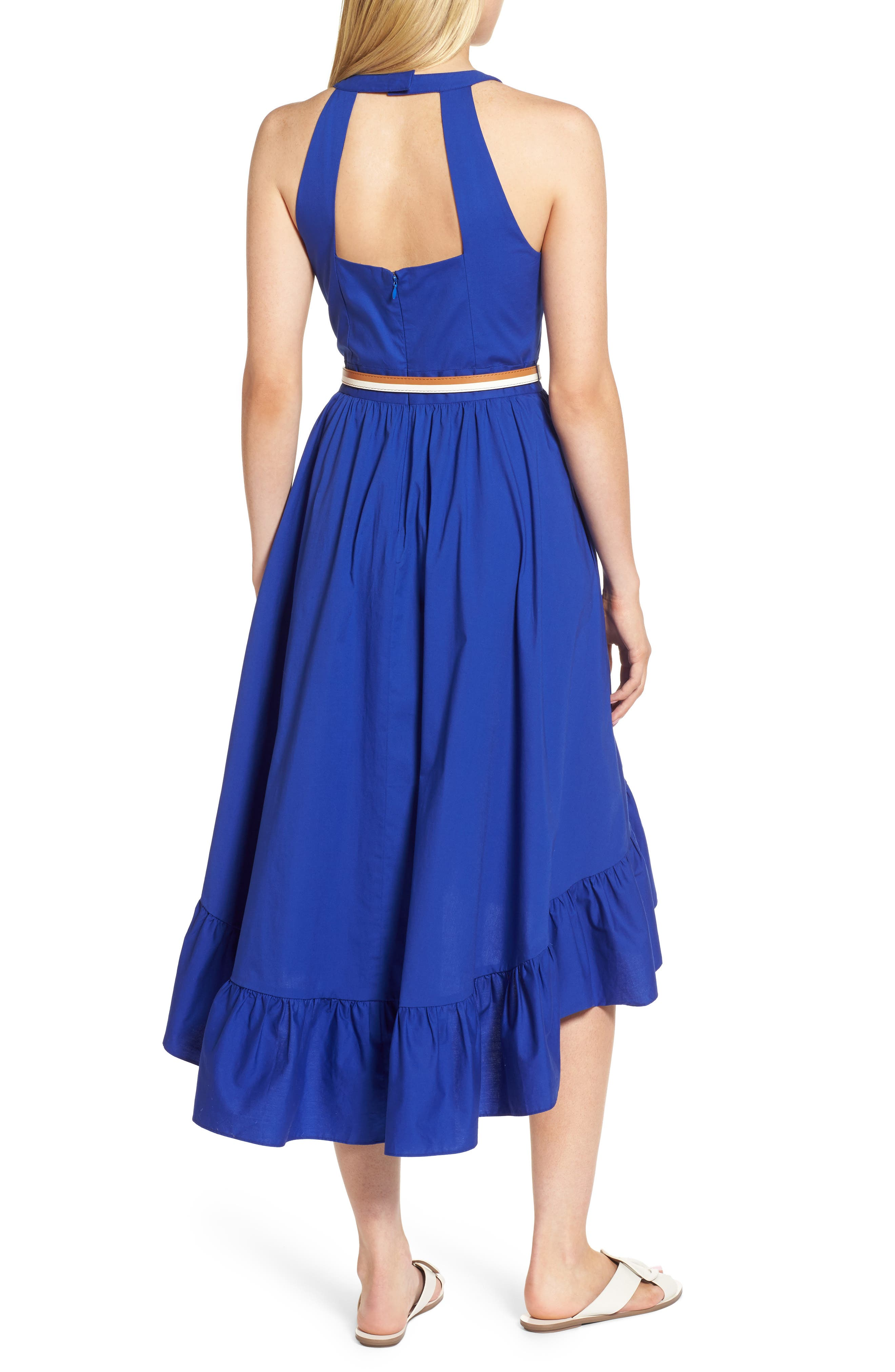 Belted High/Low Dress,                             Alternate thumbnail 2, color,                             Blue Mazarine