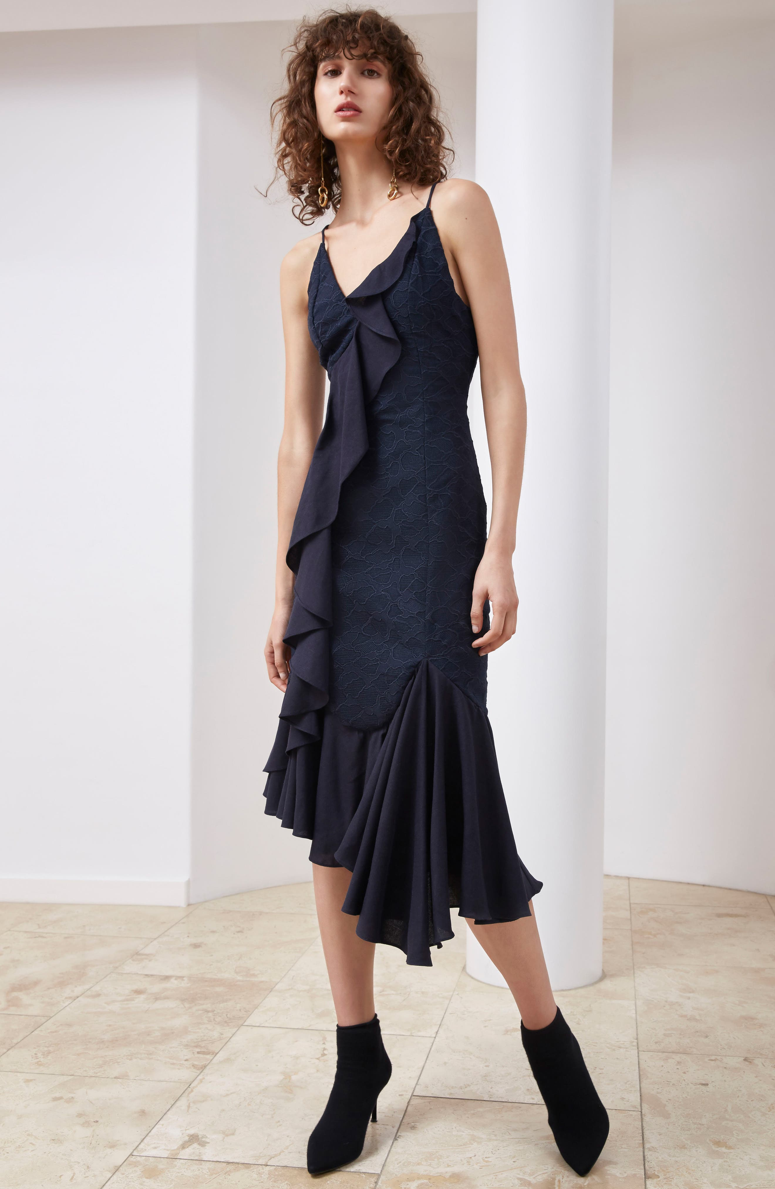Alternate Image 2  - C/MEO Collective Phase Ruffled Lace Midi Dress