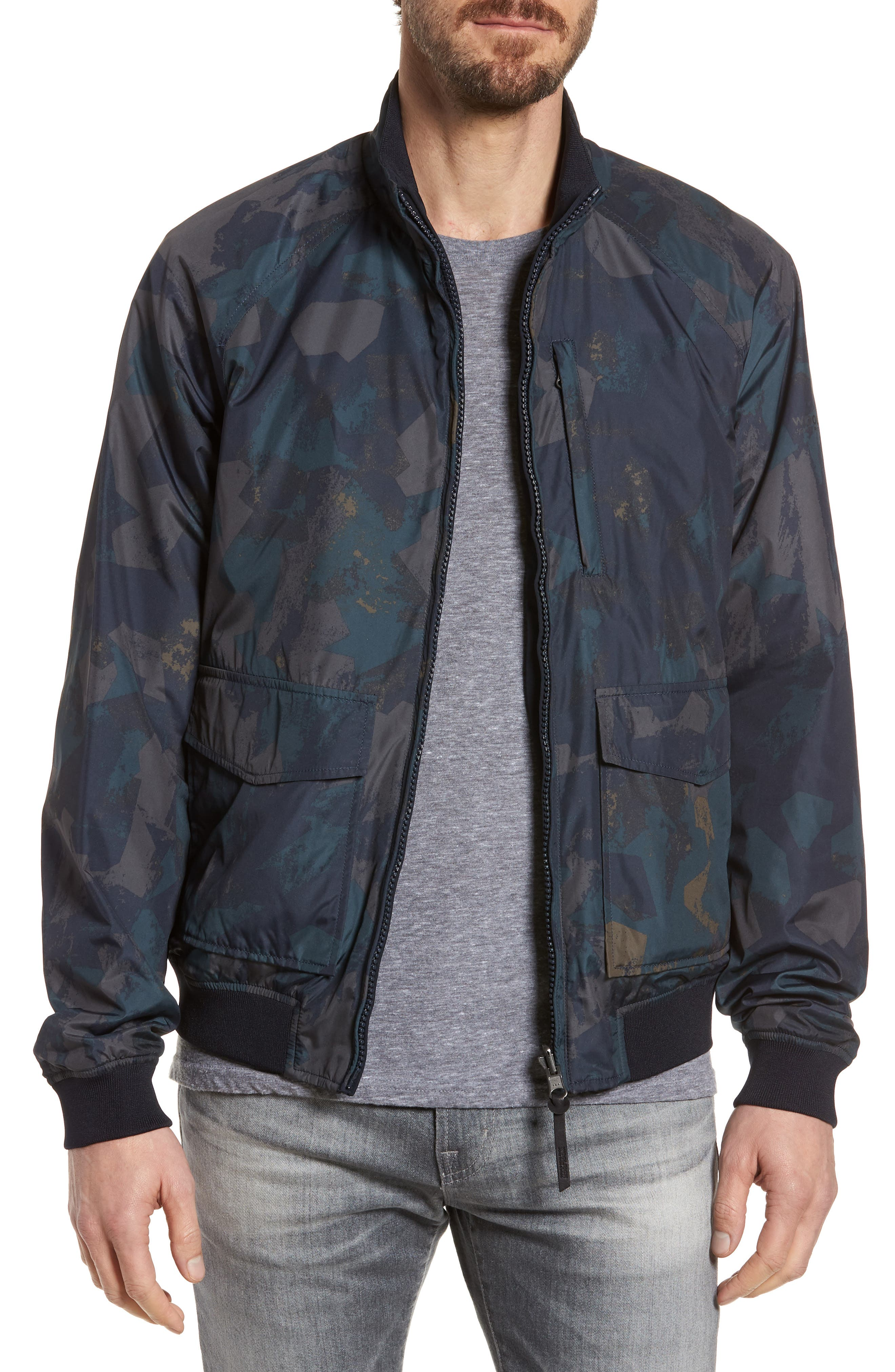 & Bros. Shore Reversible Bomber Jacket,                         Main,                         color, Melton Blue Camo