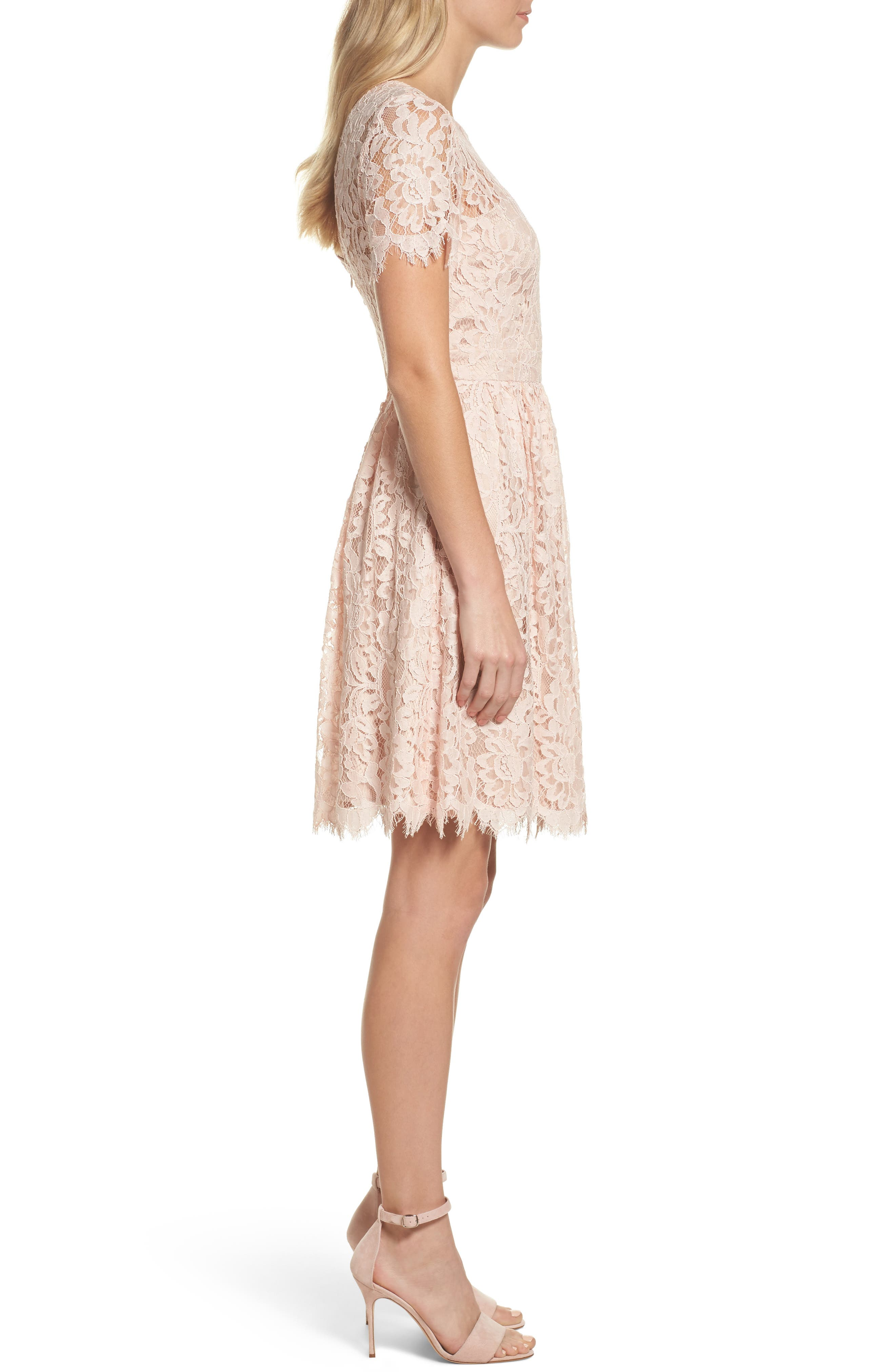 Lace Fit & Flare Dress,                             Alternate thumbnail 3, color,                             Peach