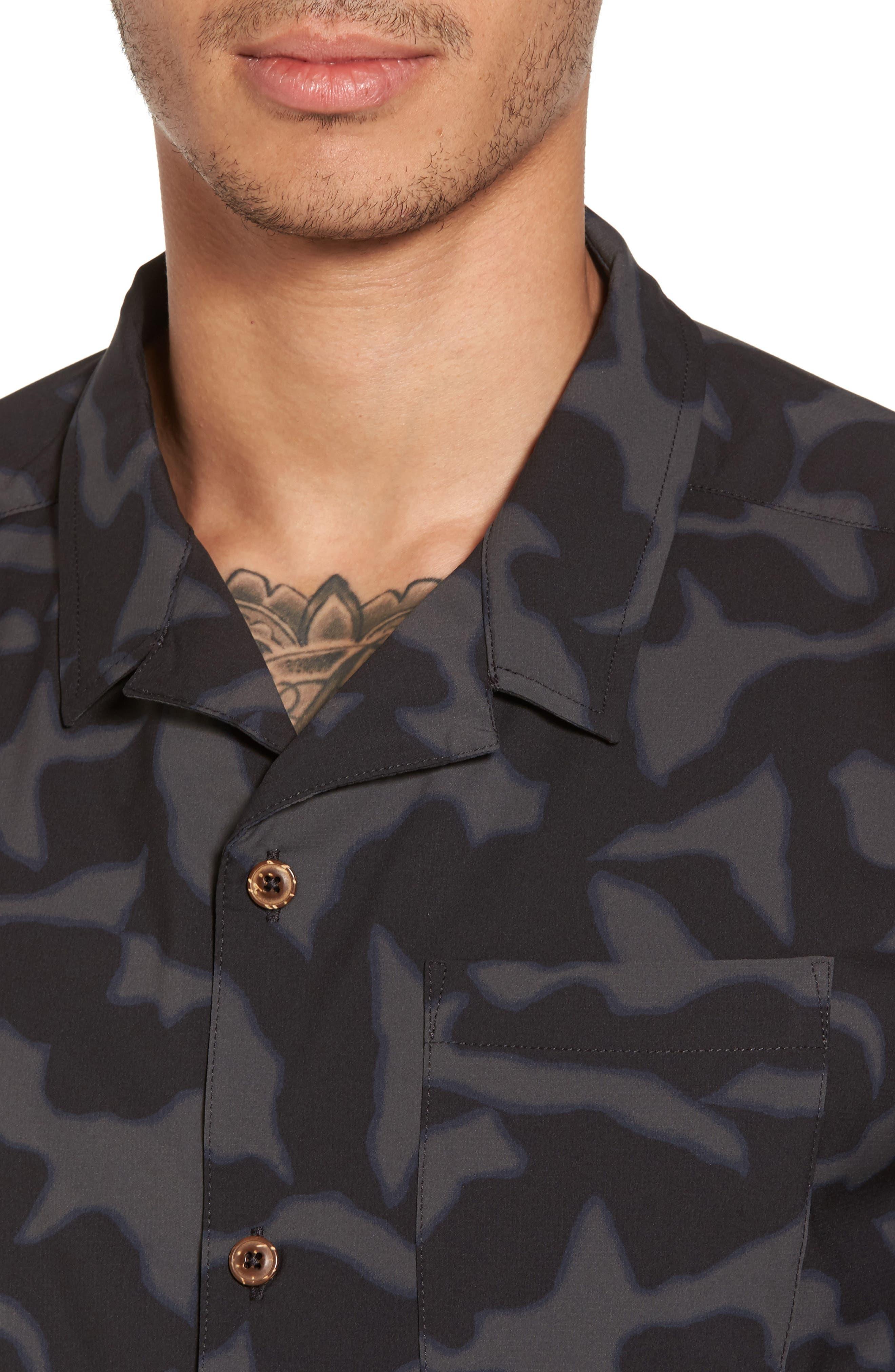 Stretch Planing Hybrid Shirt,                             Alternate thumbnail 4, color,                             Black