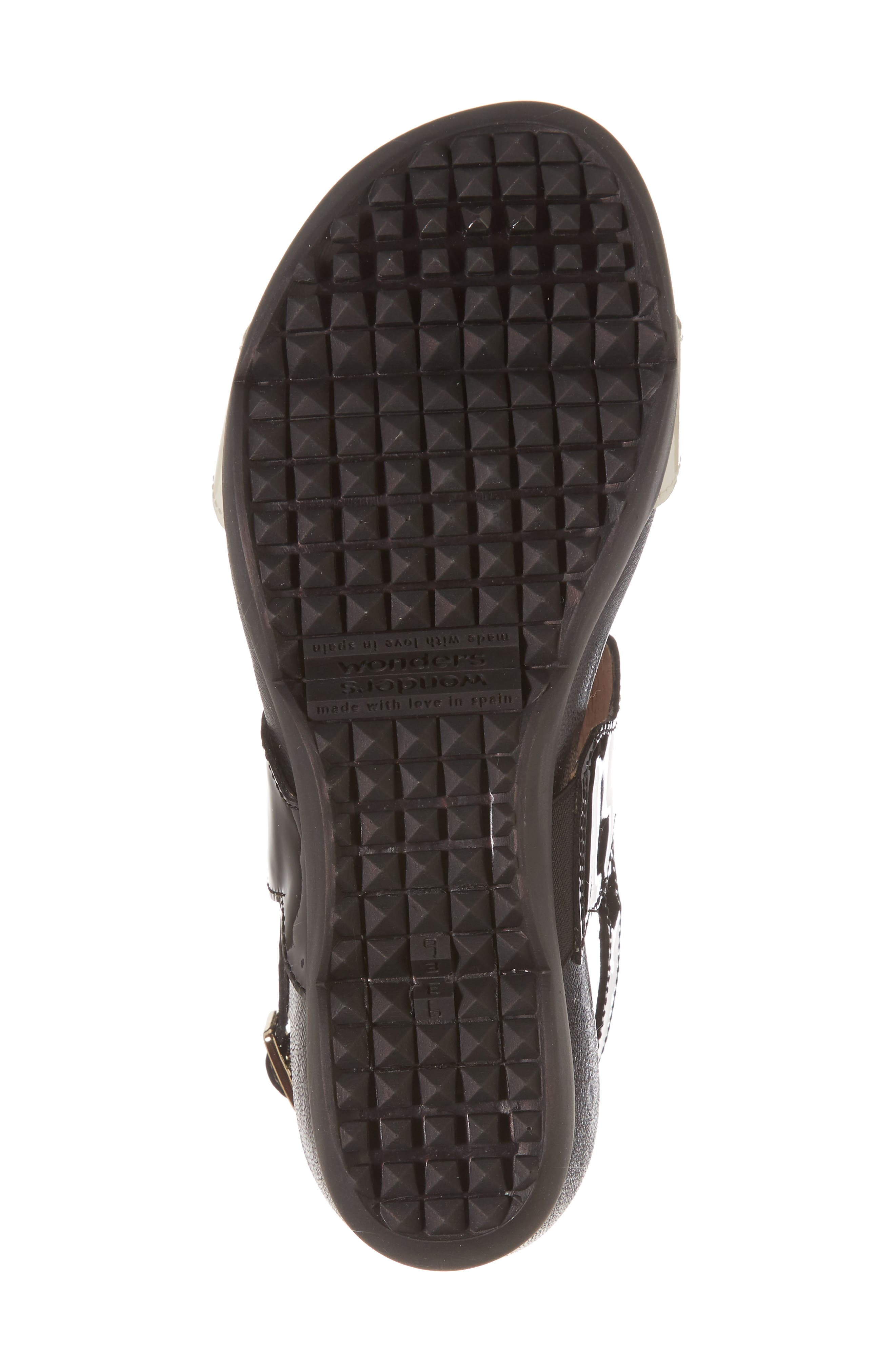 Wedge Sandal,                             Alternate thumbnail 6, color,                             Black/ Off Leather