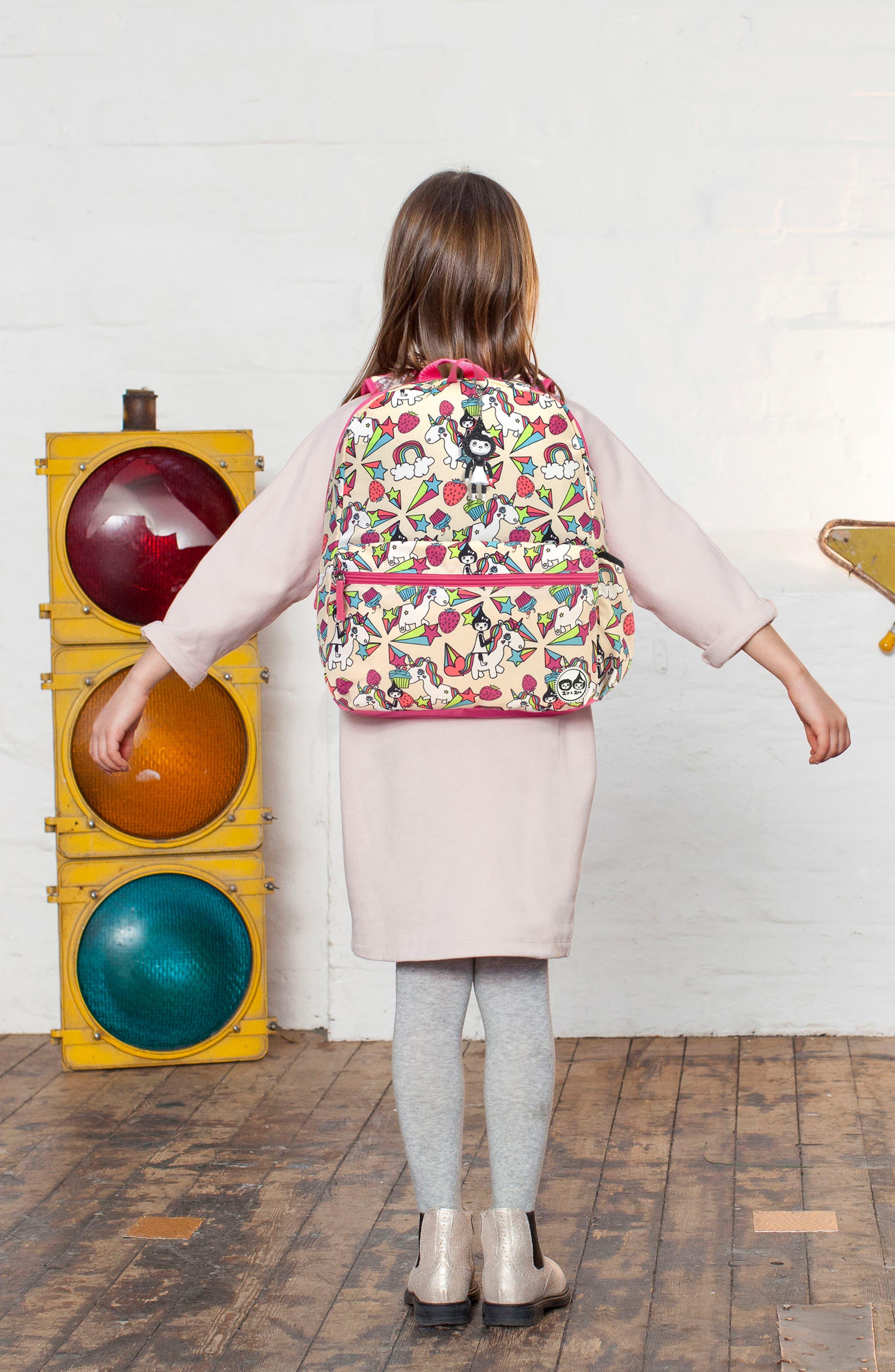 Zip & Zoe Unicorn Junior Backpack,                             Alternate thumbnail 9, color,                             White
