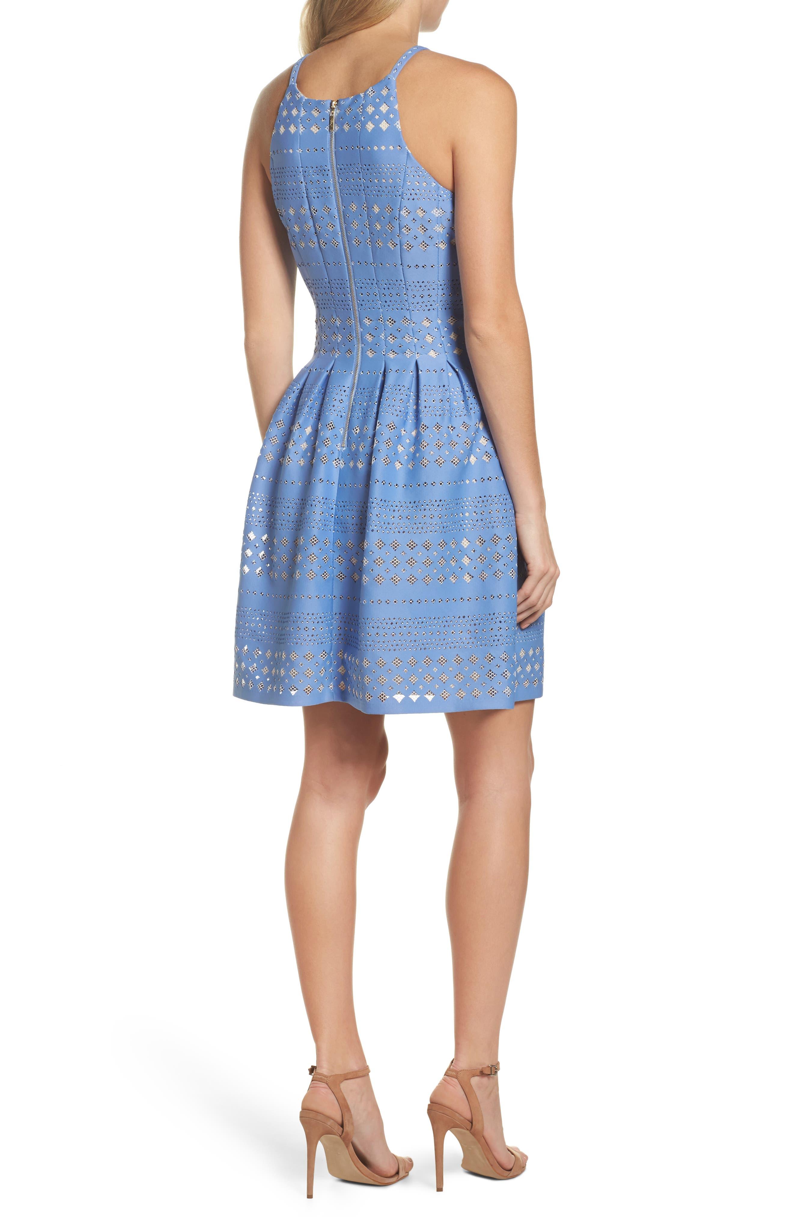 Alternate Image 2  - Eliza J Laser Cut Fit & Flare Halter Dress