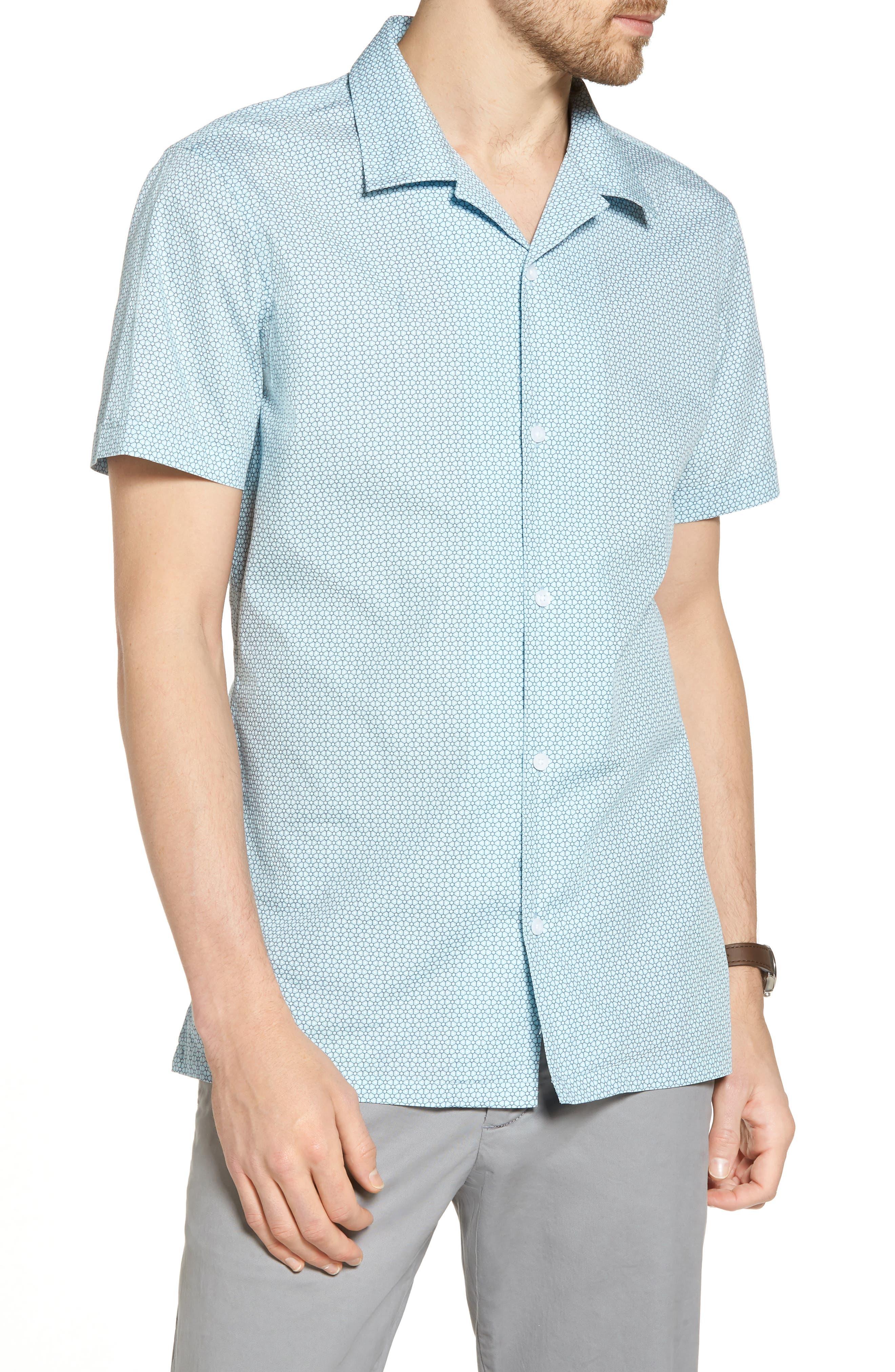 Trim Fit Stretch Geometric Camp Shirt,                         Main,                         color, Blue Orydalis Honeycomb