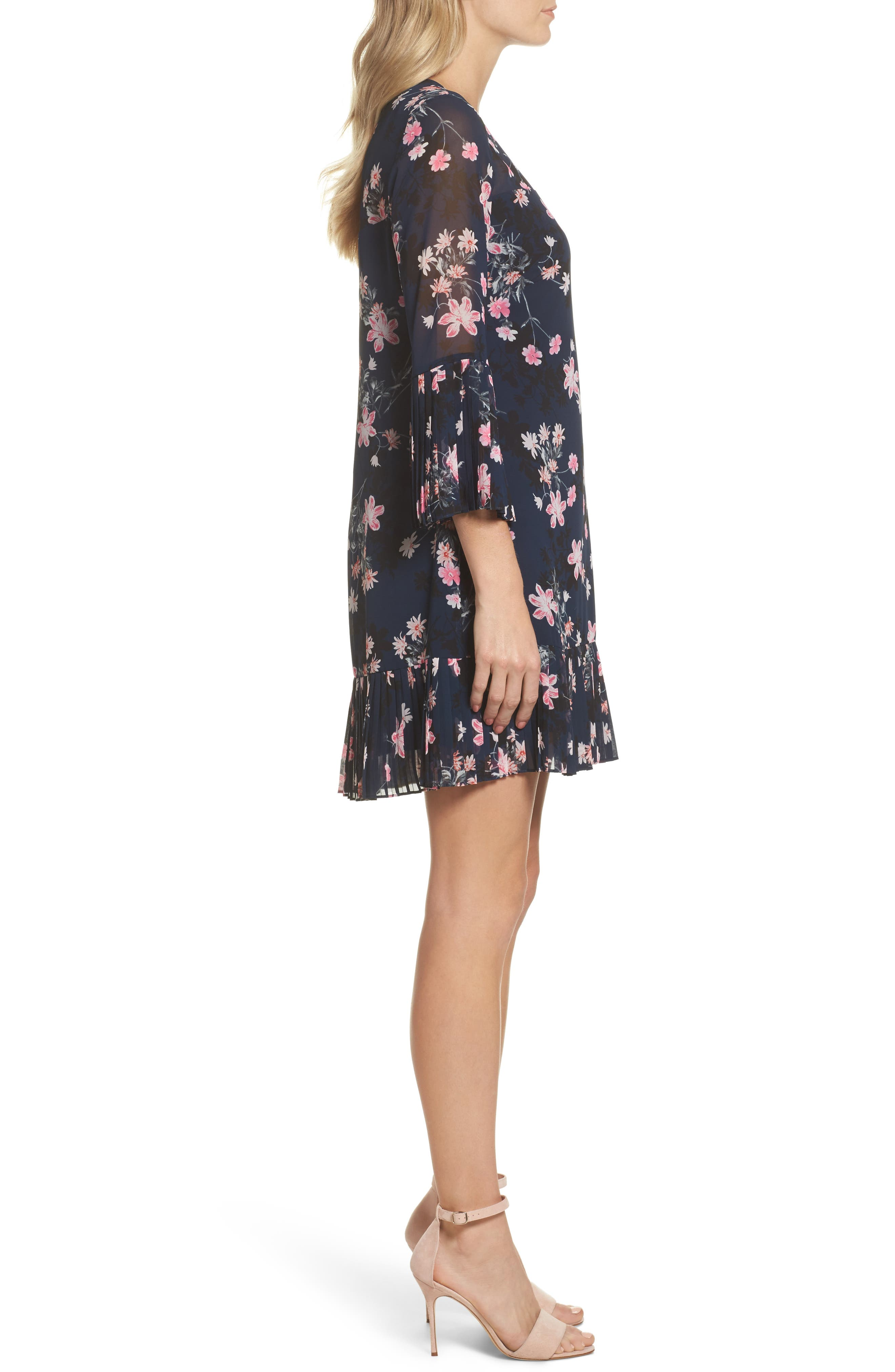 Floral Print Bell Sleeve Dress,                             Alternate thumbnail 3, color,                             Navy
