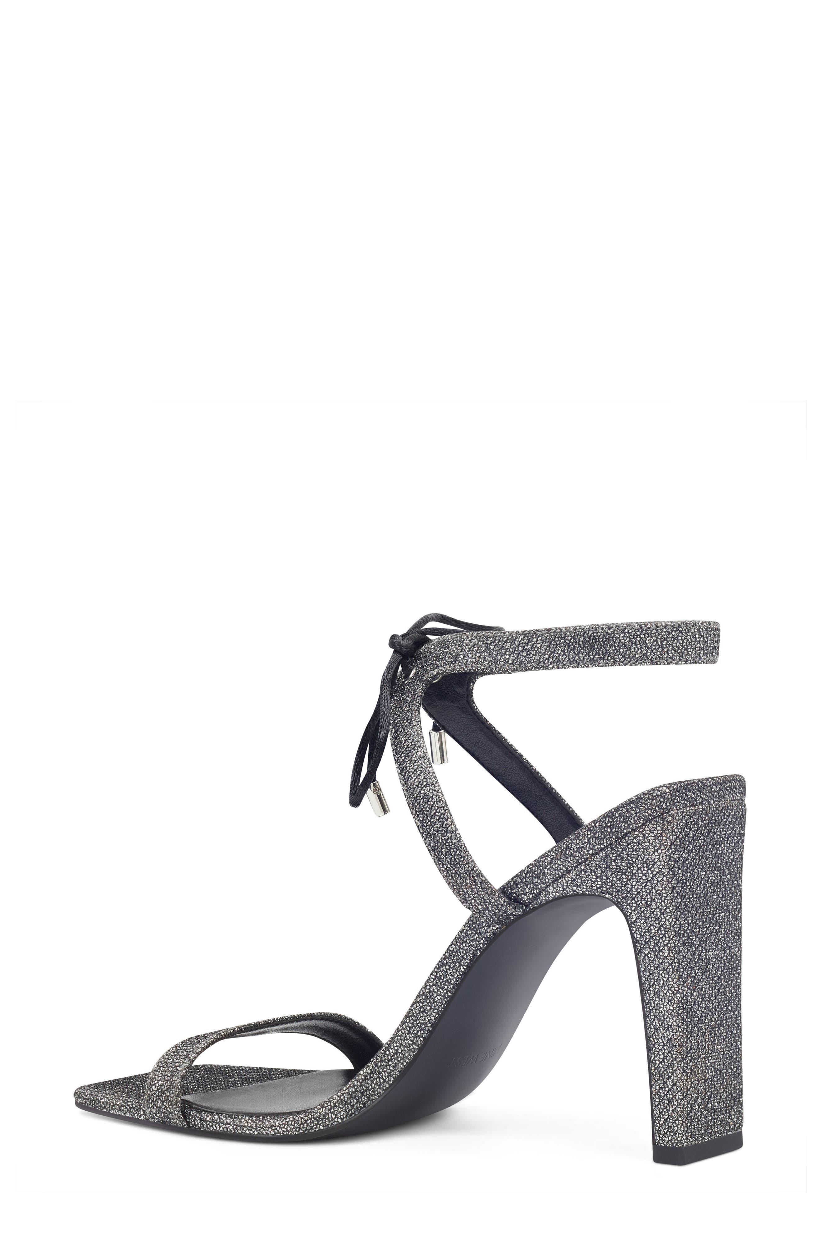 Longitano Squared Toe Sandal,                             Alternate thumbnail 2, color,                             Black/ Silver Fabric