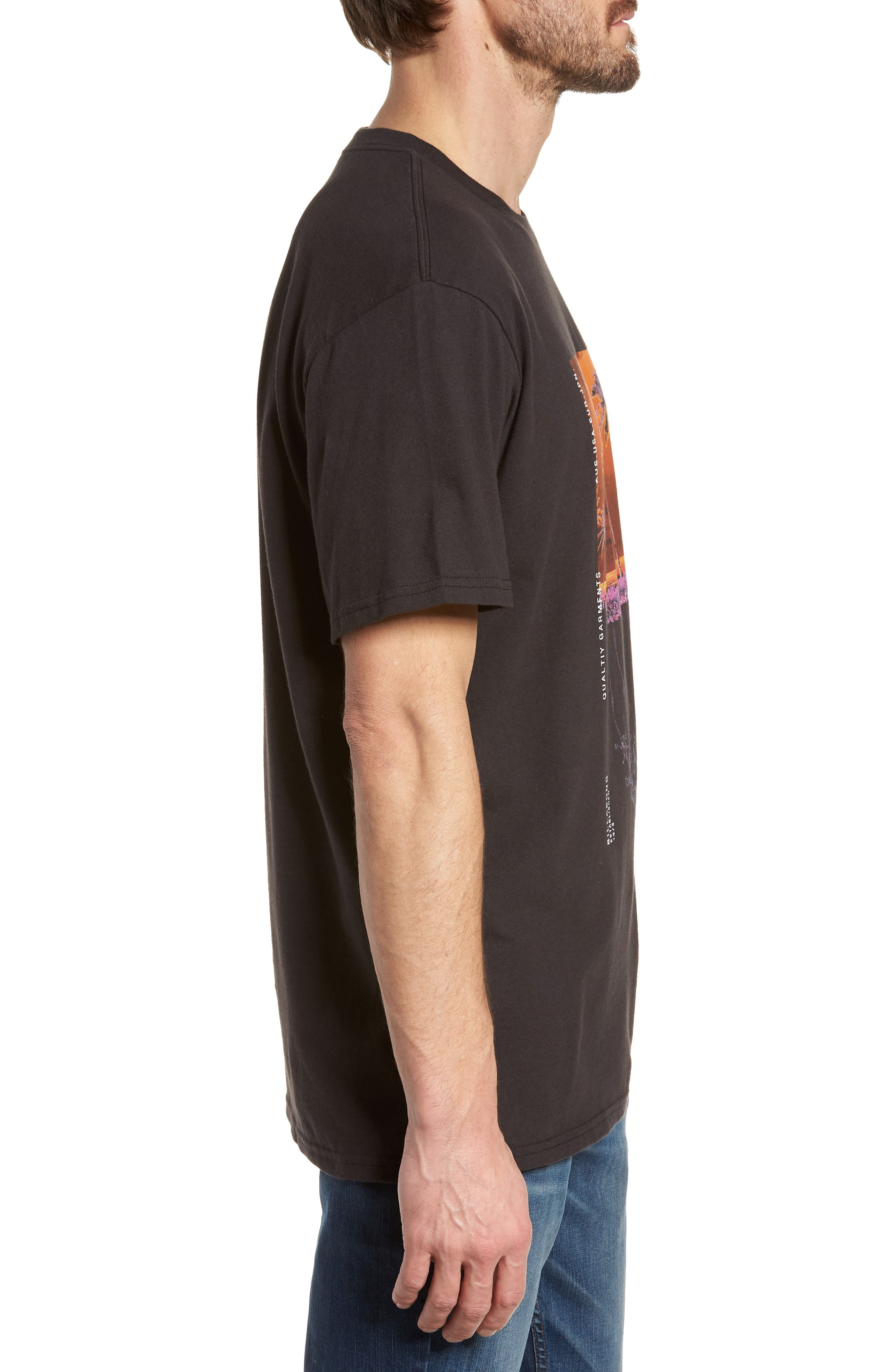Wavy Graphic T-Shirt,                             Alternate thumbnail 3, color,                             Black