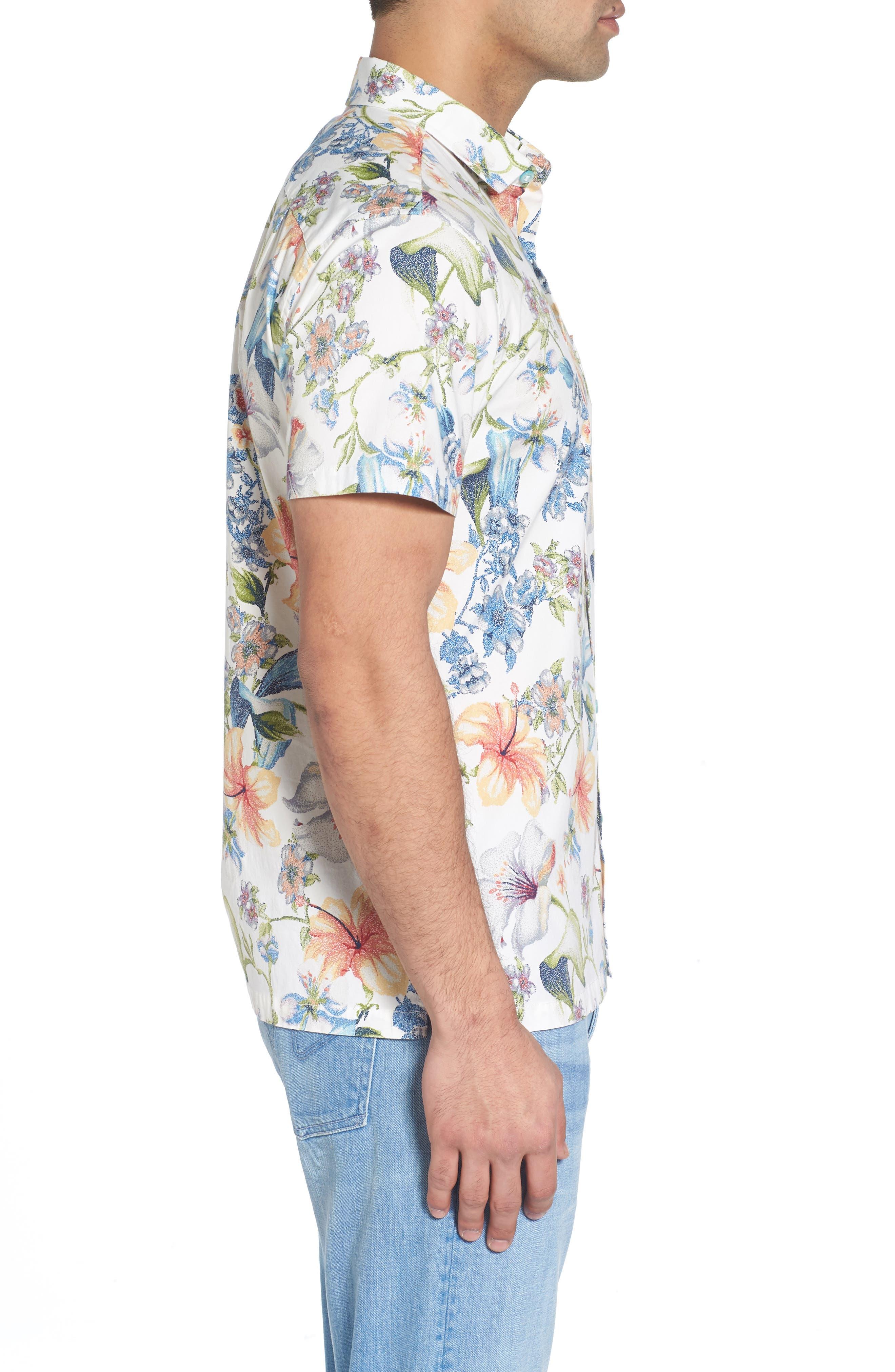 Que Seuret Sport Shirt,                             Alternate thumbnail 3, color,                             Eggshell