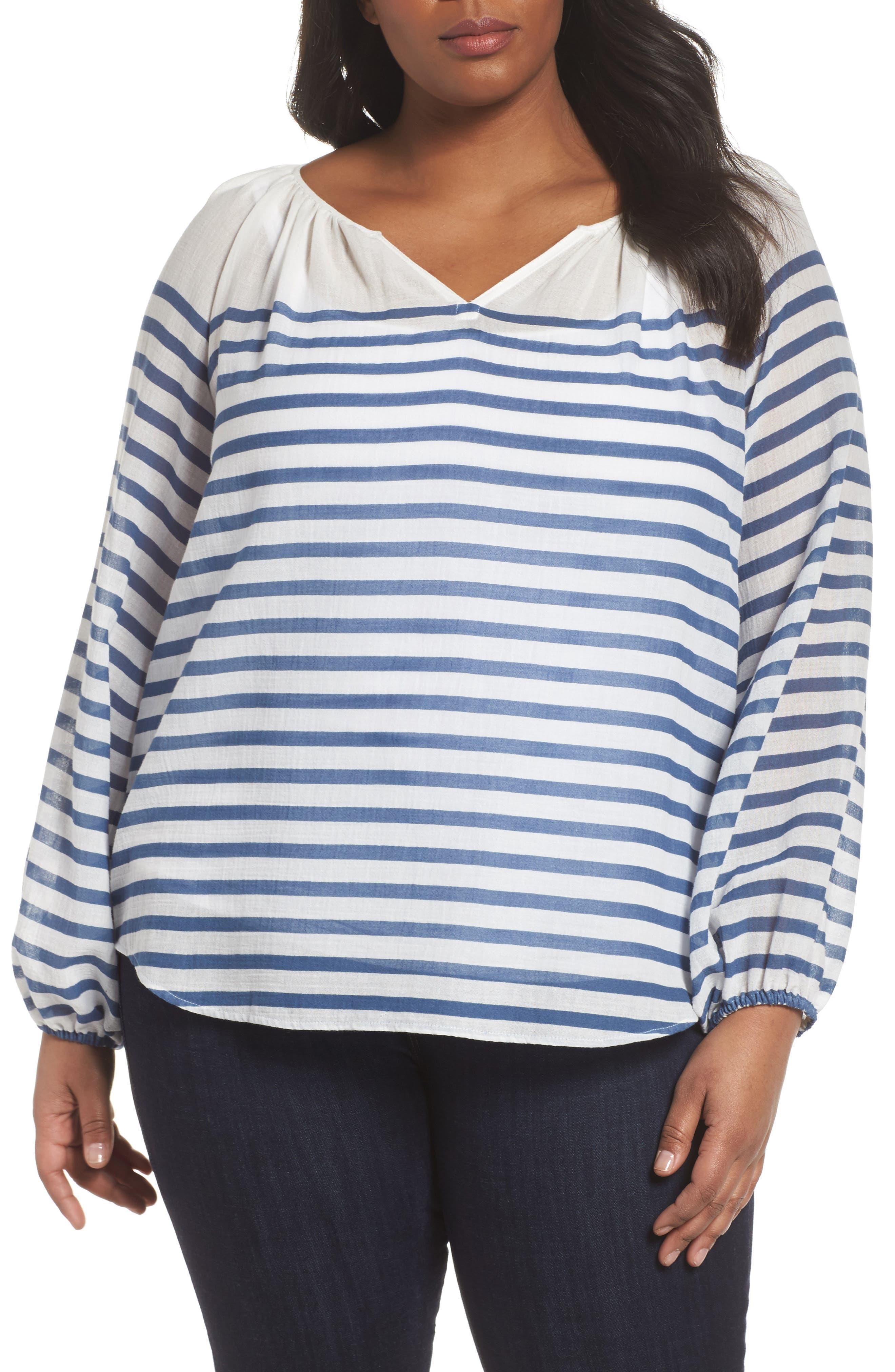 Stripe Peasant Blouse,                         Main,                         color, Patina Blue