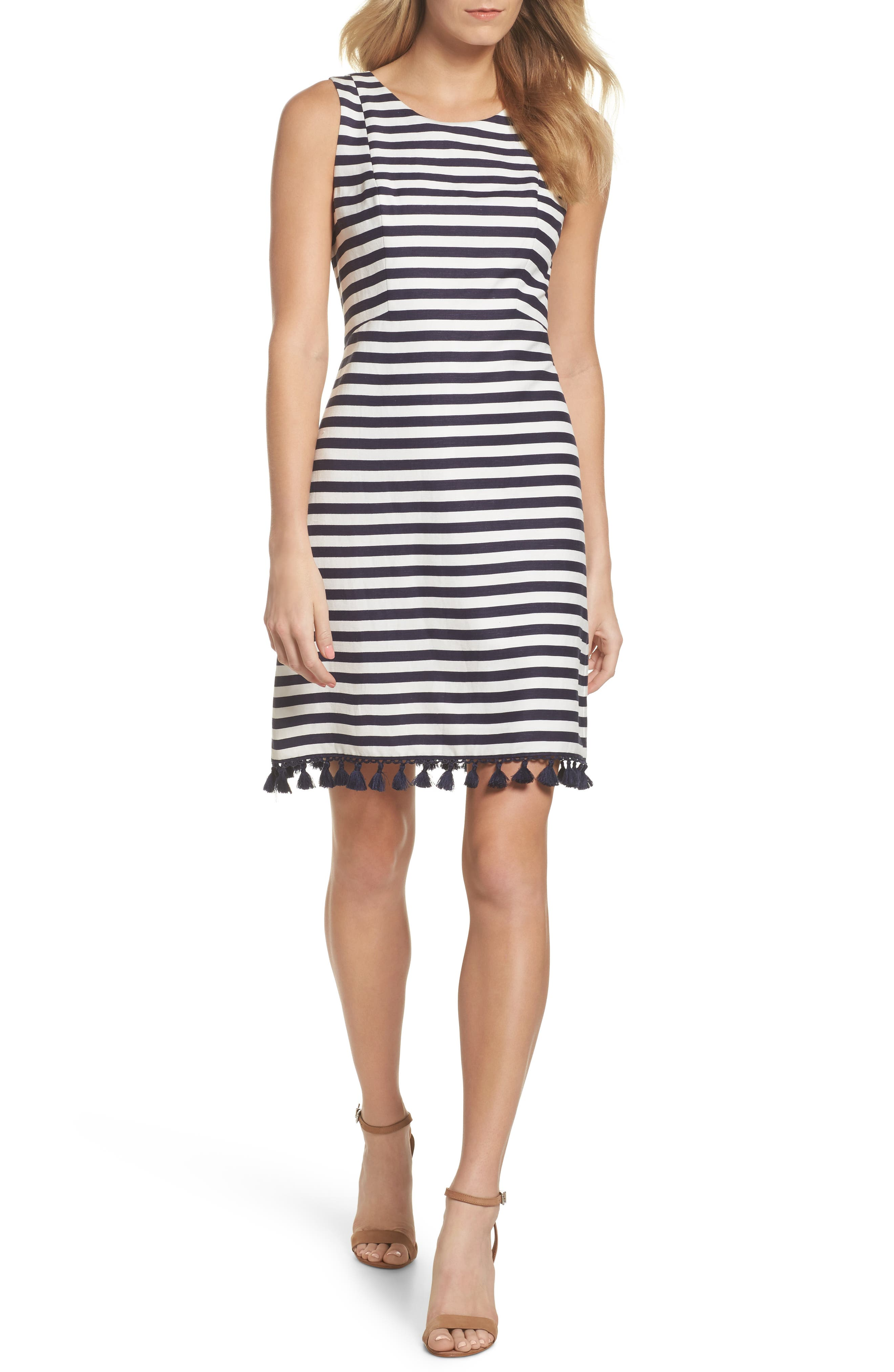 Stripe A-Line Dress,                             Main thumbnail 1, color,                             Navy/ White