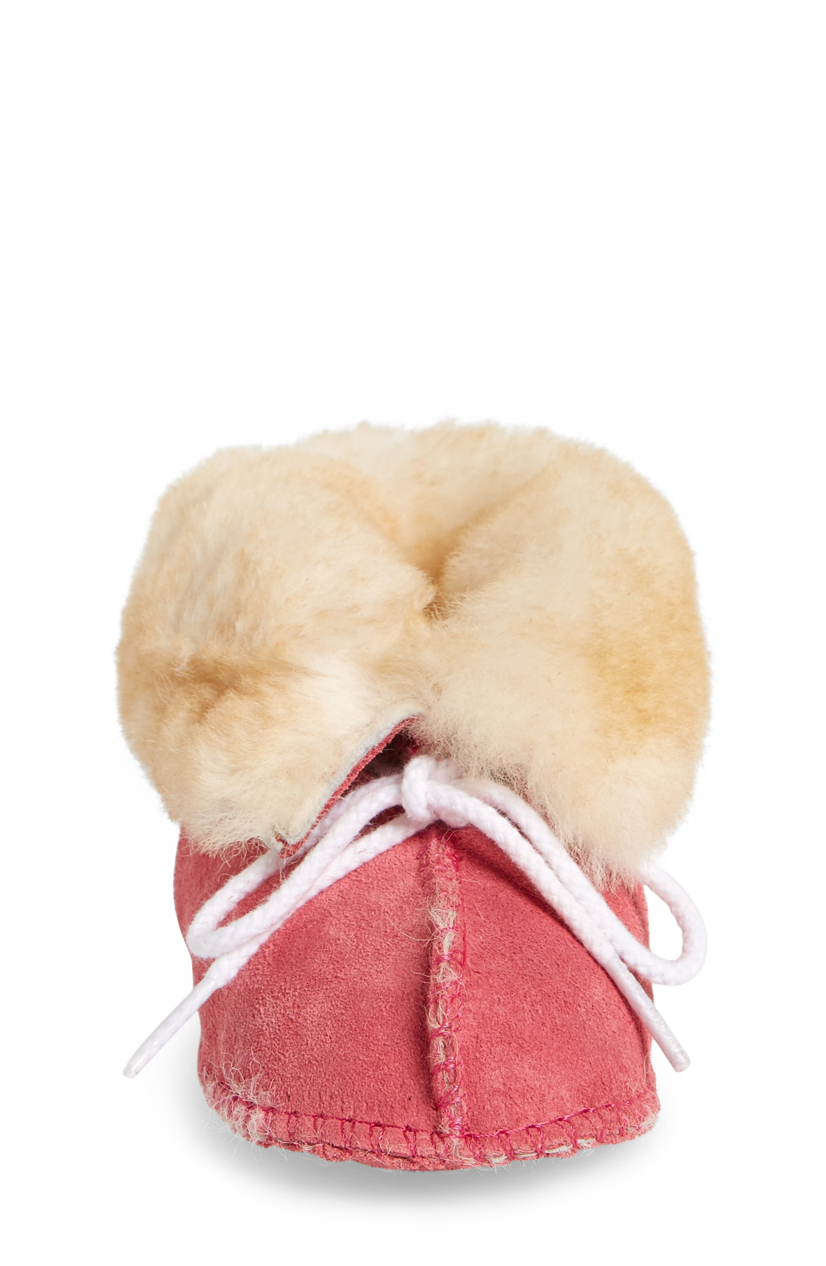 Genuine Shearling Crib Moccasin,                             Alternate thumbnail 4, color,                             Hot Pink