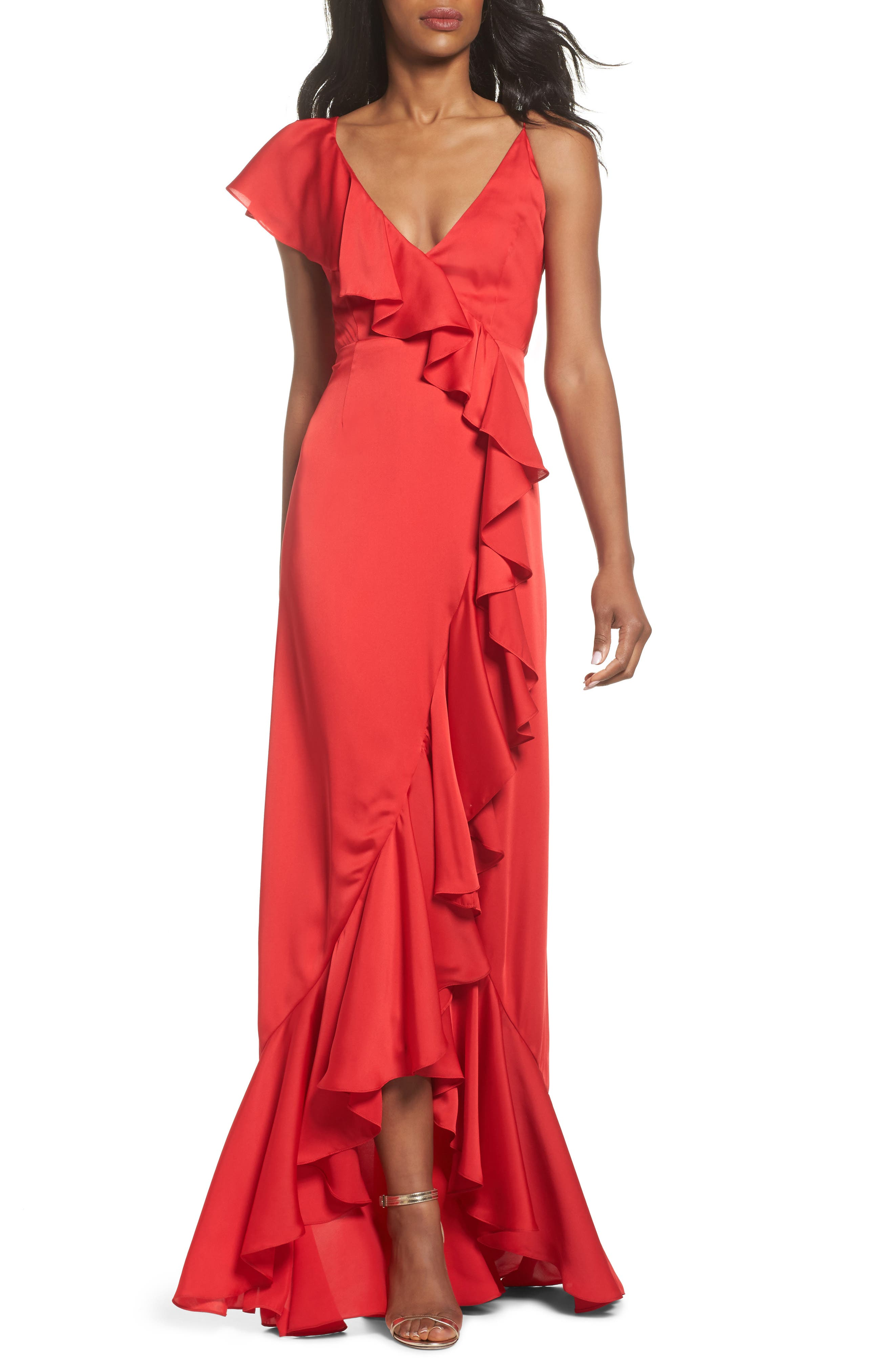 Ruffle Detail Gown,                             Main thumbnail 1, color,                             Poppy Red