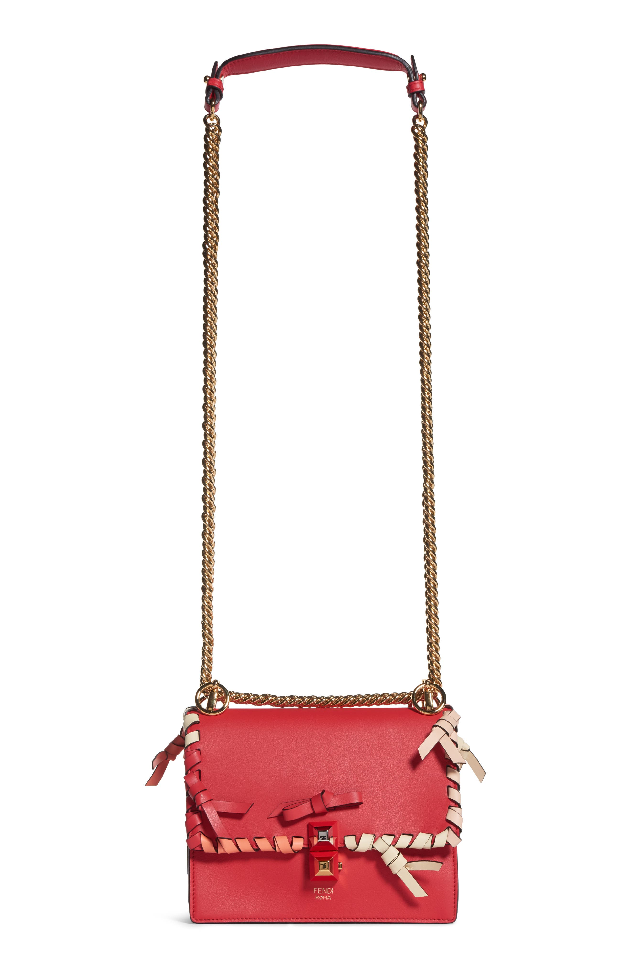 Fendi Small Kan Whipstitch Leather Shoulder Bag