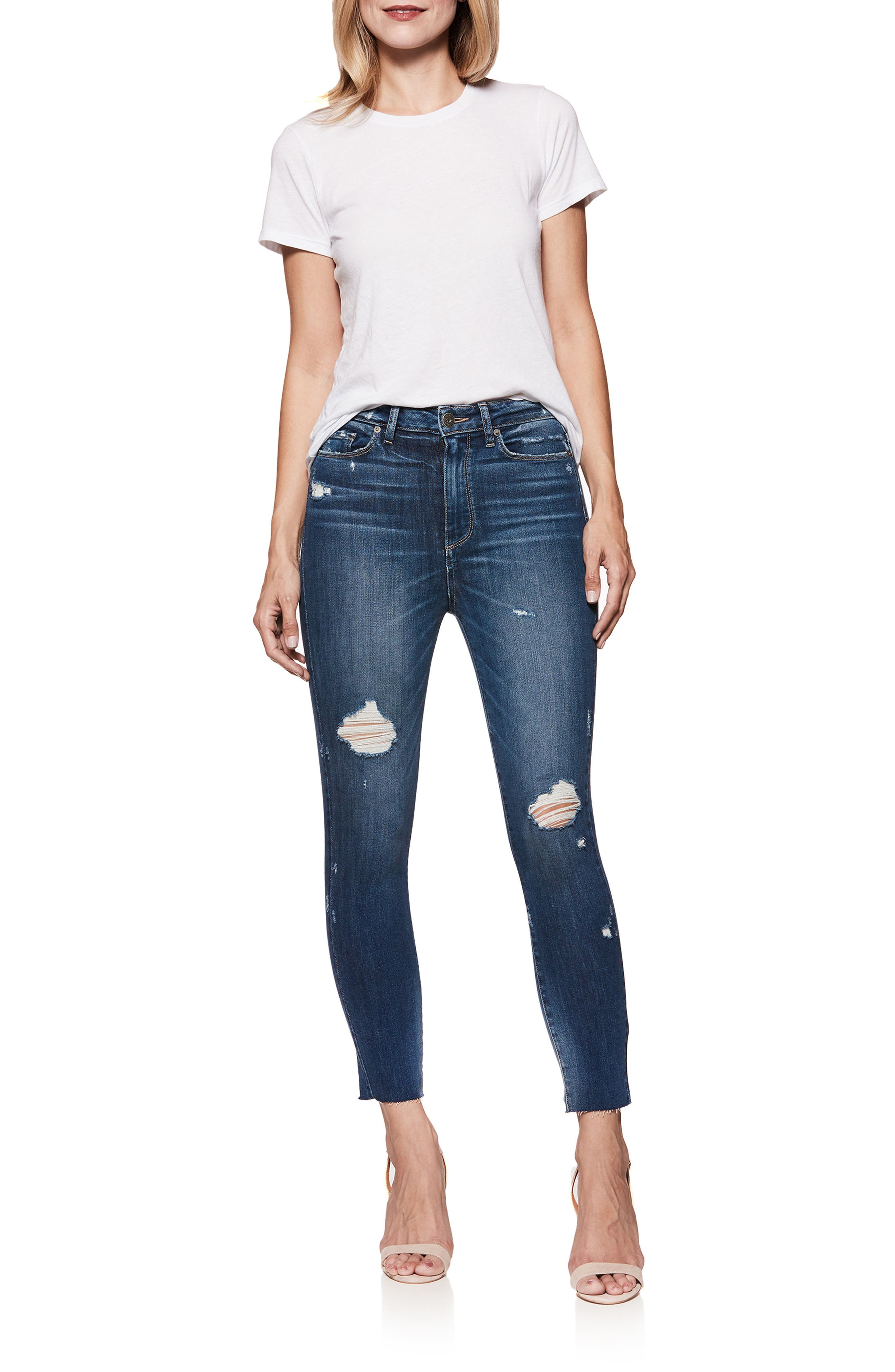 Transcend Vintage - Margot High Waist Crop Skinny Jeans,                             Alternate thumbnail 2, color,                             Cliffs Edge Destructed