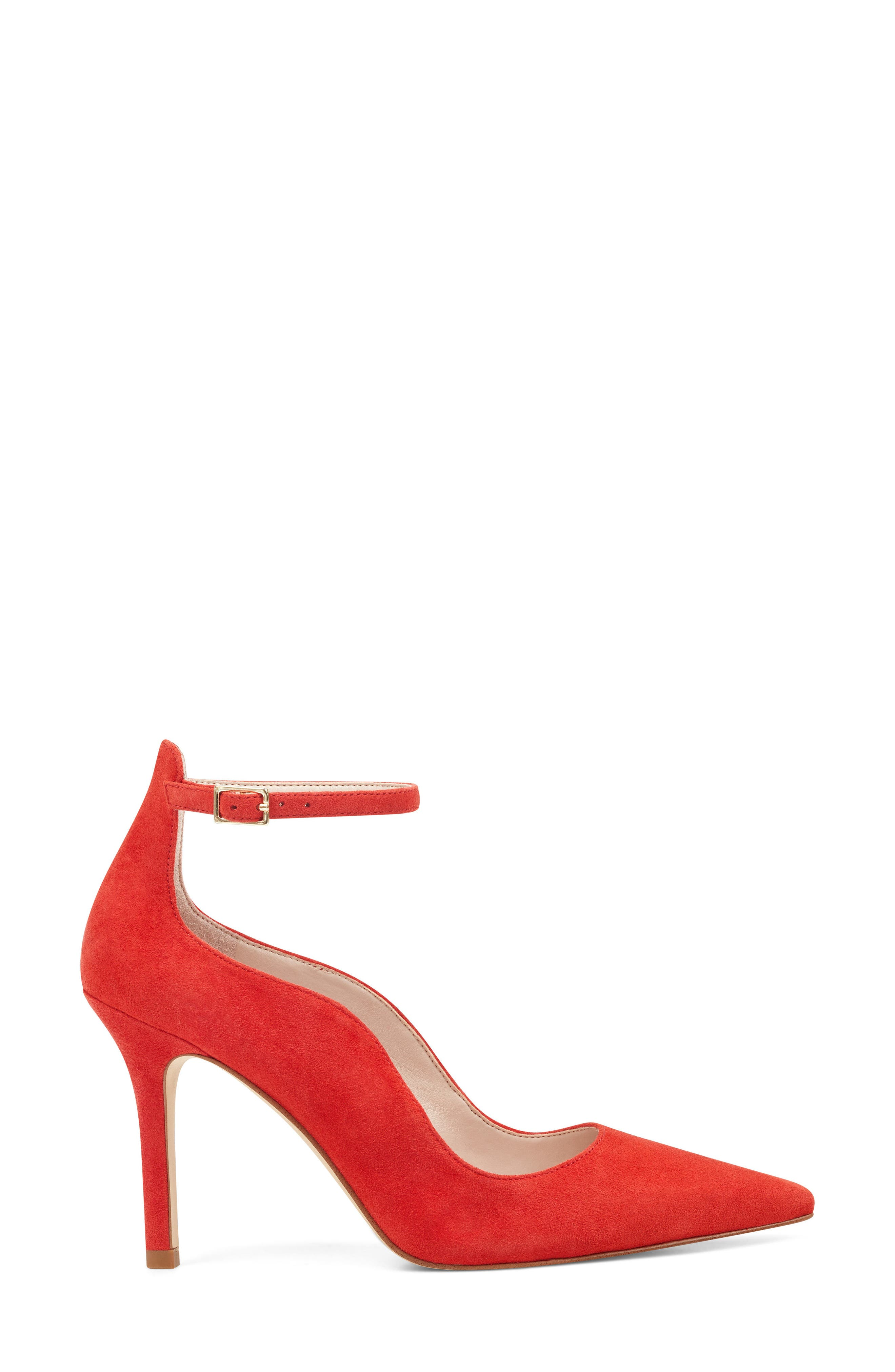 Marquisha Scalloped Ankle Strap Pump,                             Alternate thumbnail 3, color,                             Red Suede