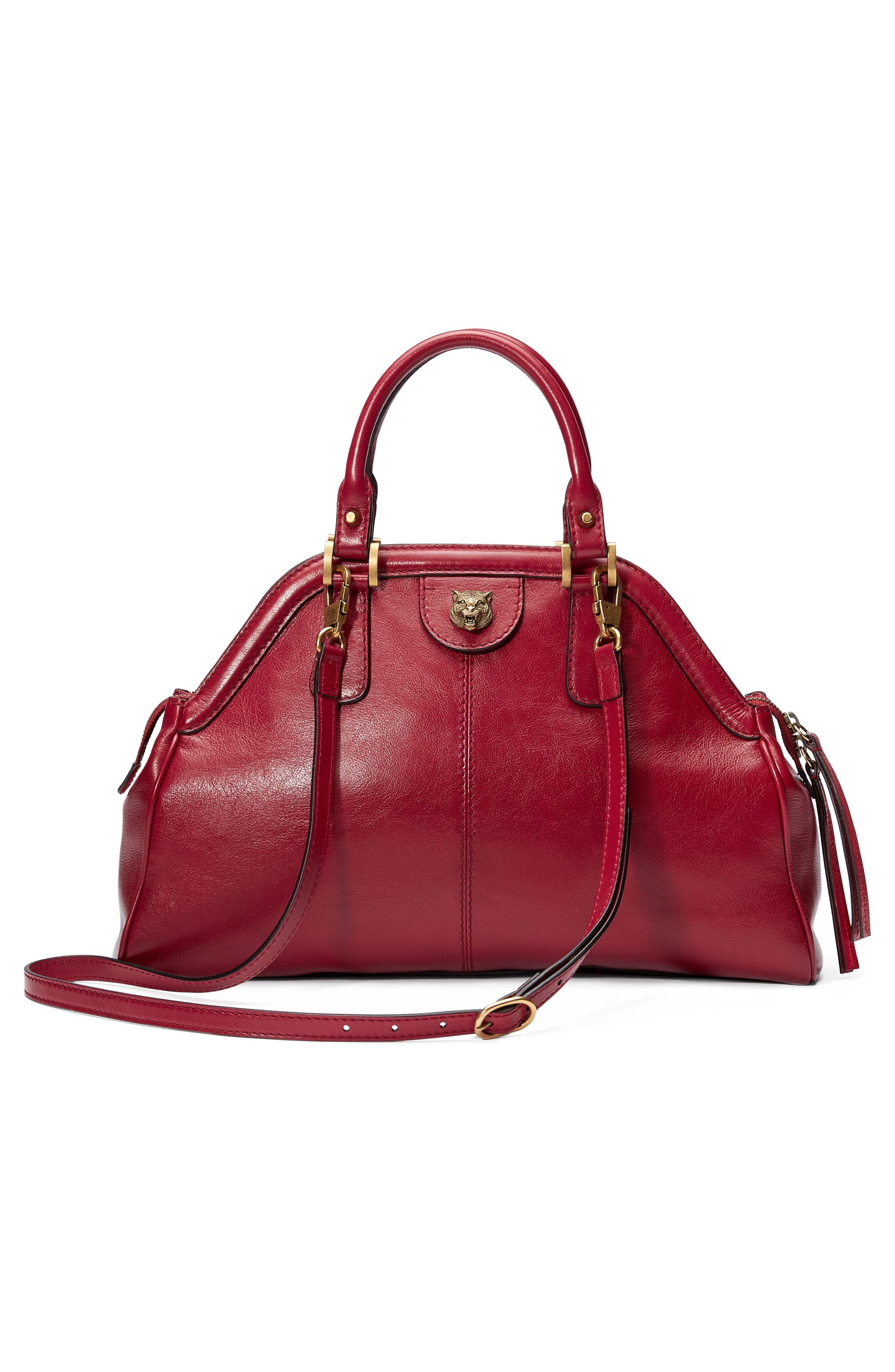 Medium RE(BELLE) Leather Satchel,                             Alternate thumbnail 2, color,                             Romantic Cerise