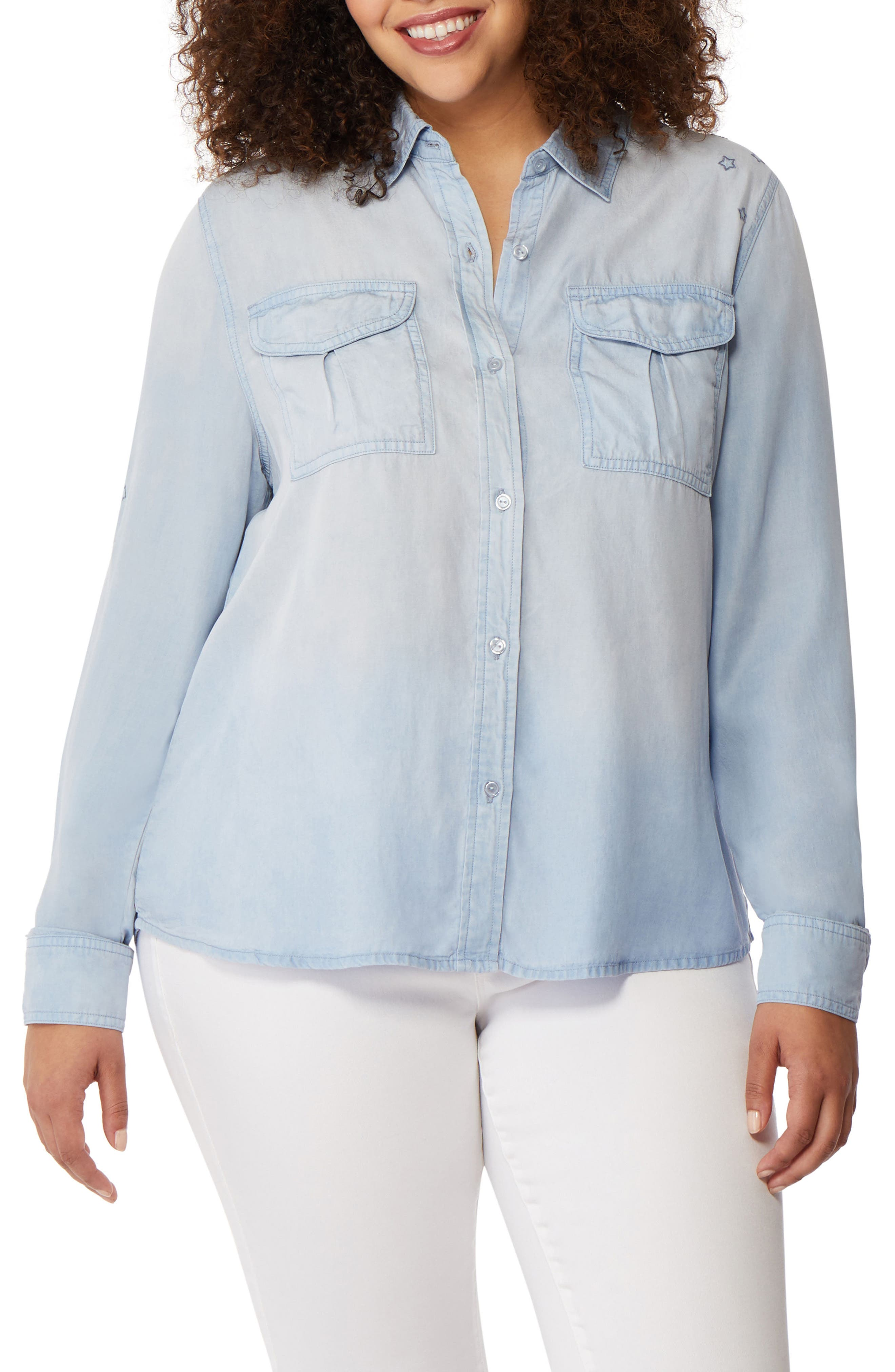 Rebel Wilson x Angels Embroidered Chambray Utility Shirt (Plus Size)