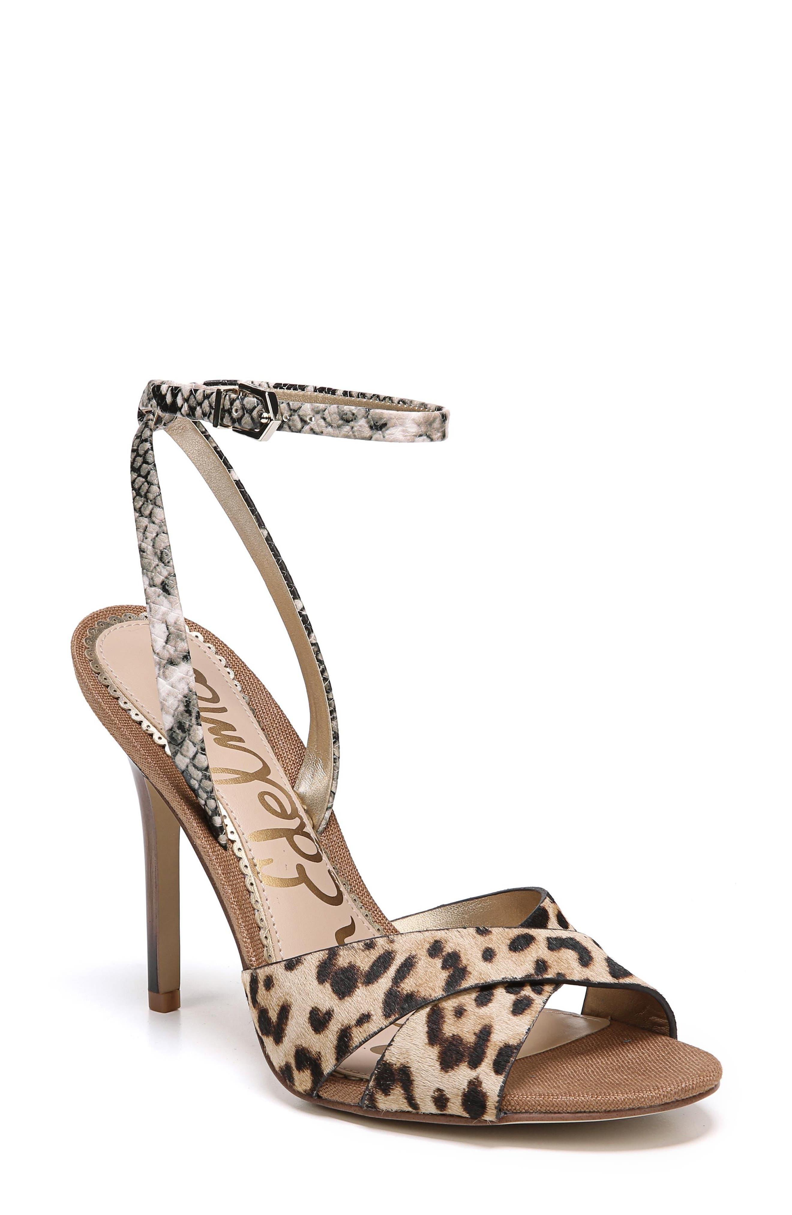 Aly Ankle Strap Sandal,                         Main,                         color, Leopard Print Calf Hair