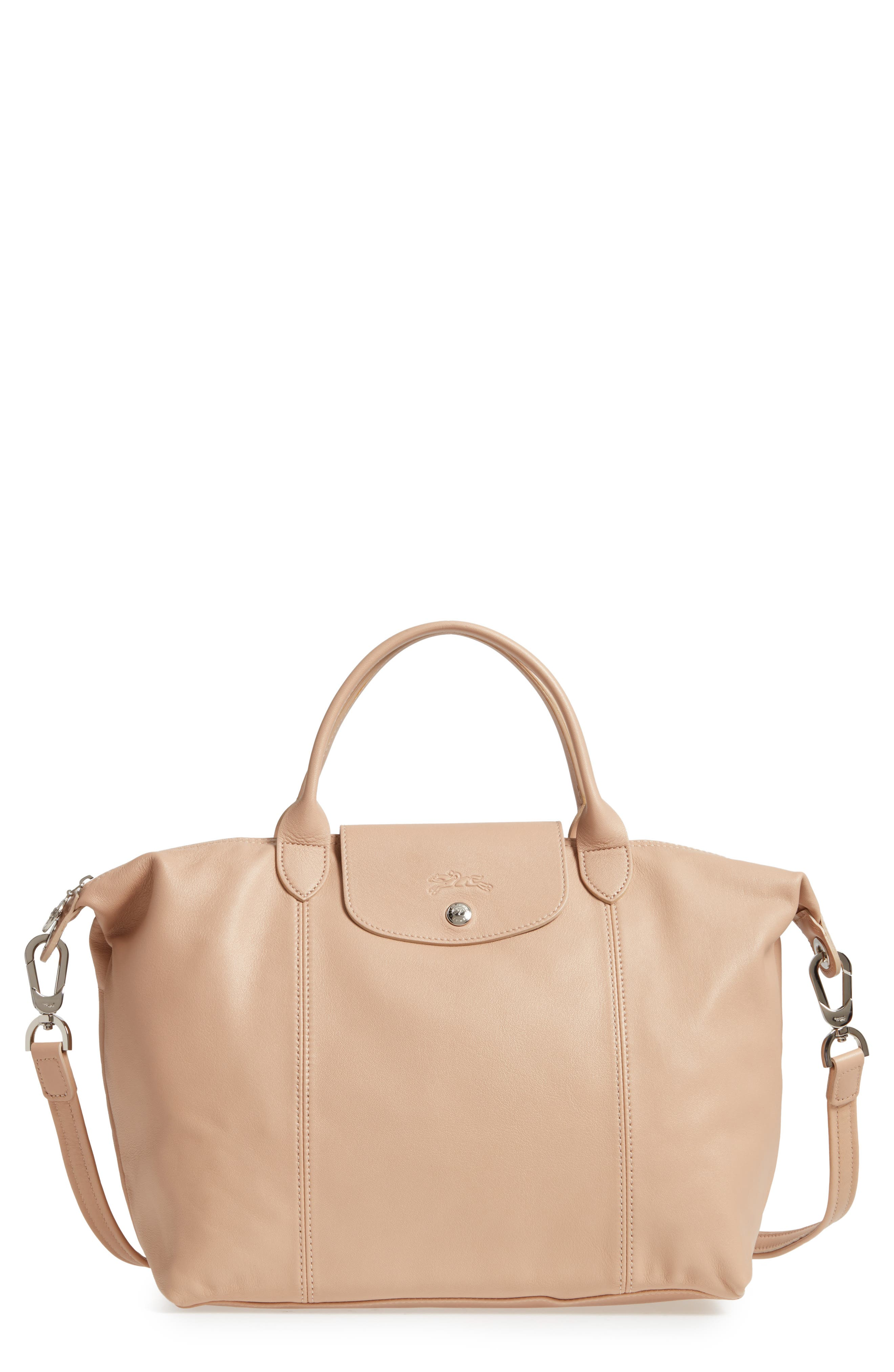 Longchamp Medium 'Le Pliage Cuir' Leather Top Handle Tote