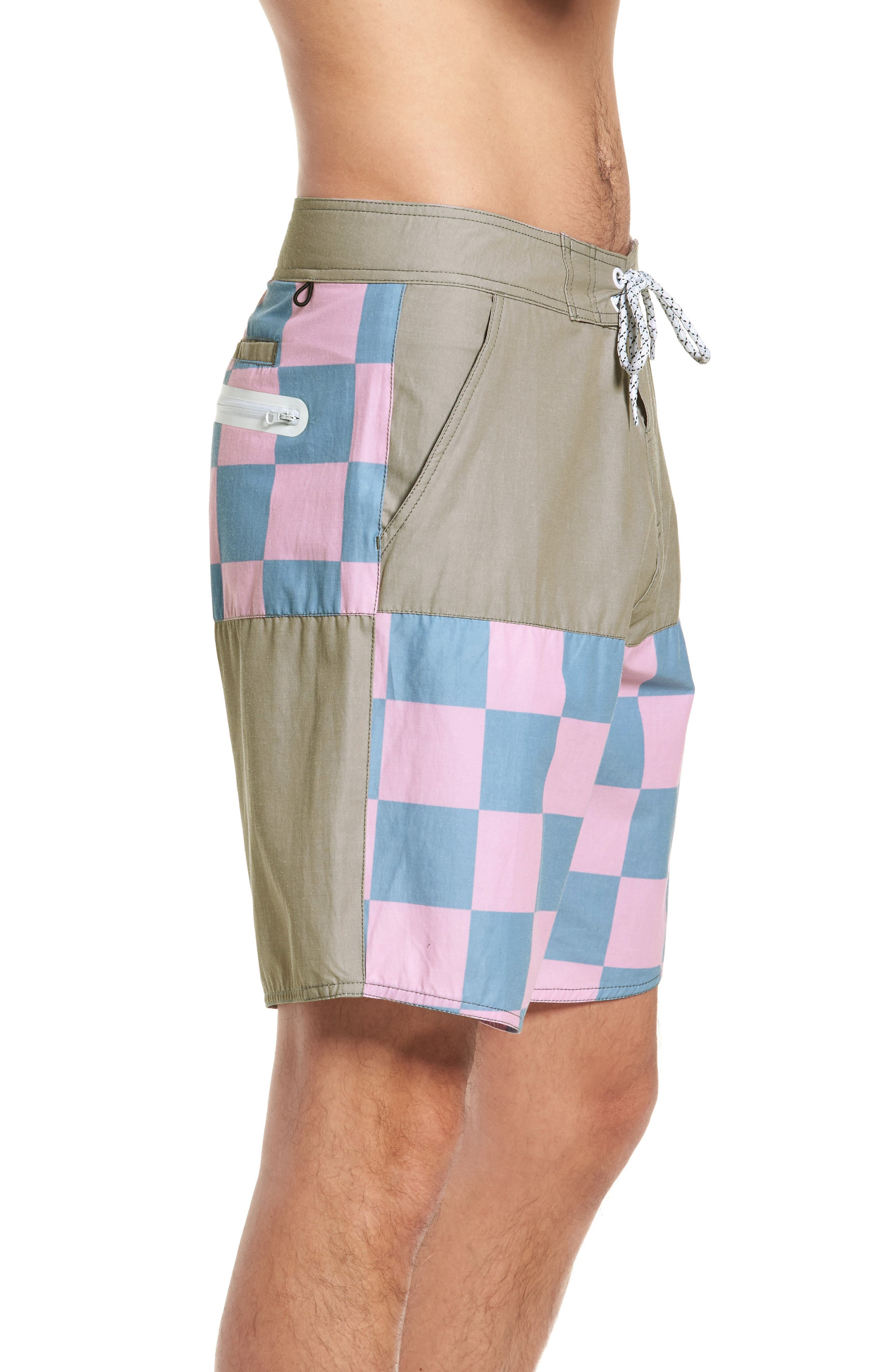 Checkered Board Shorts,                             Alternate thumbnail 3, color,                             Khaki