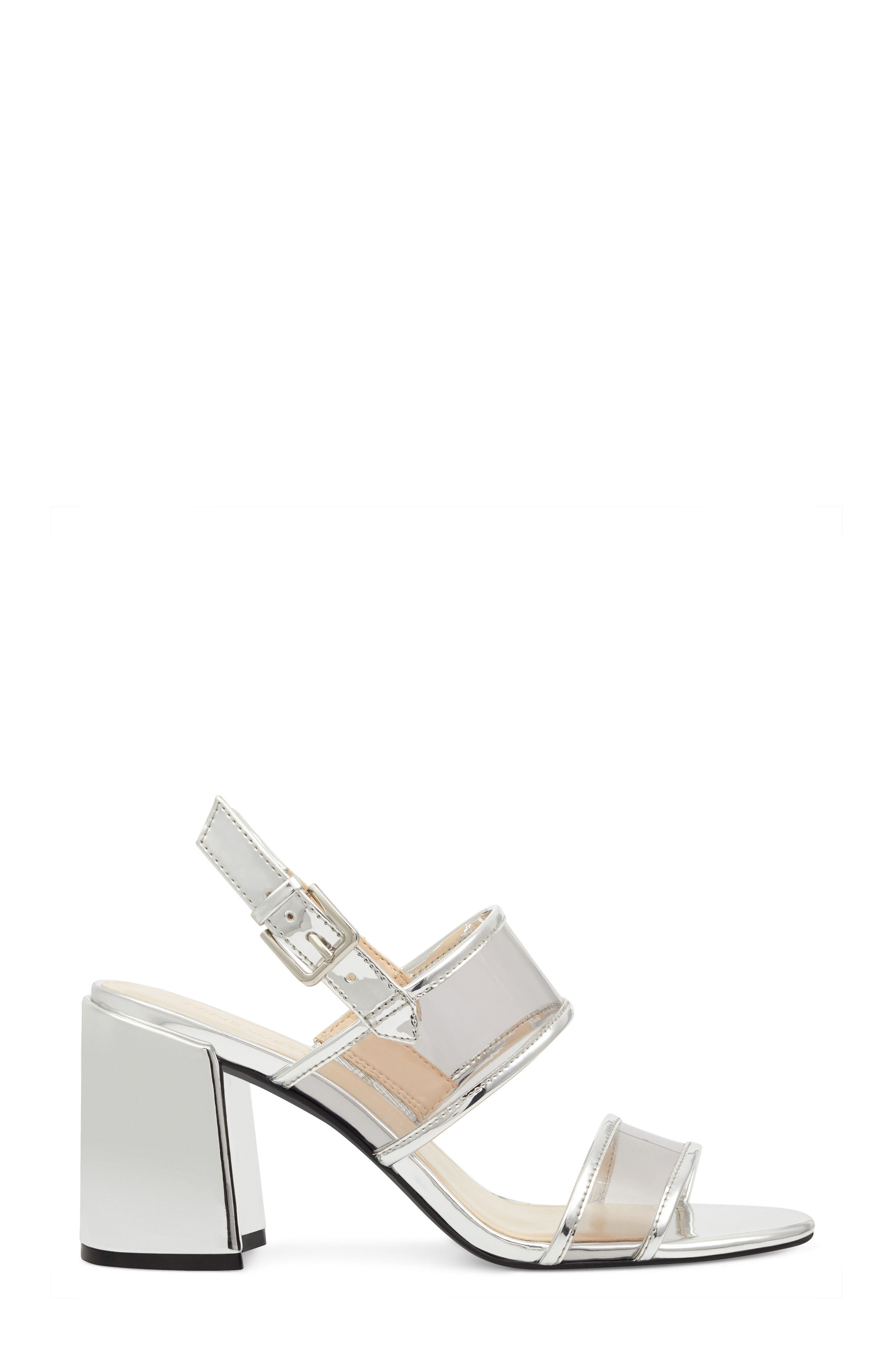 Gourdes Block Heel Sandal,                             Alternate thumbnail 3, color,                             Clear Grey Multi Faux Leather
