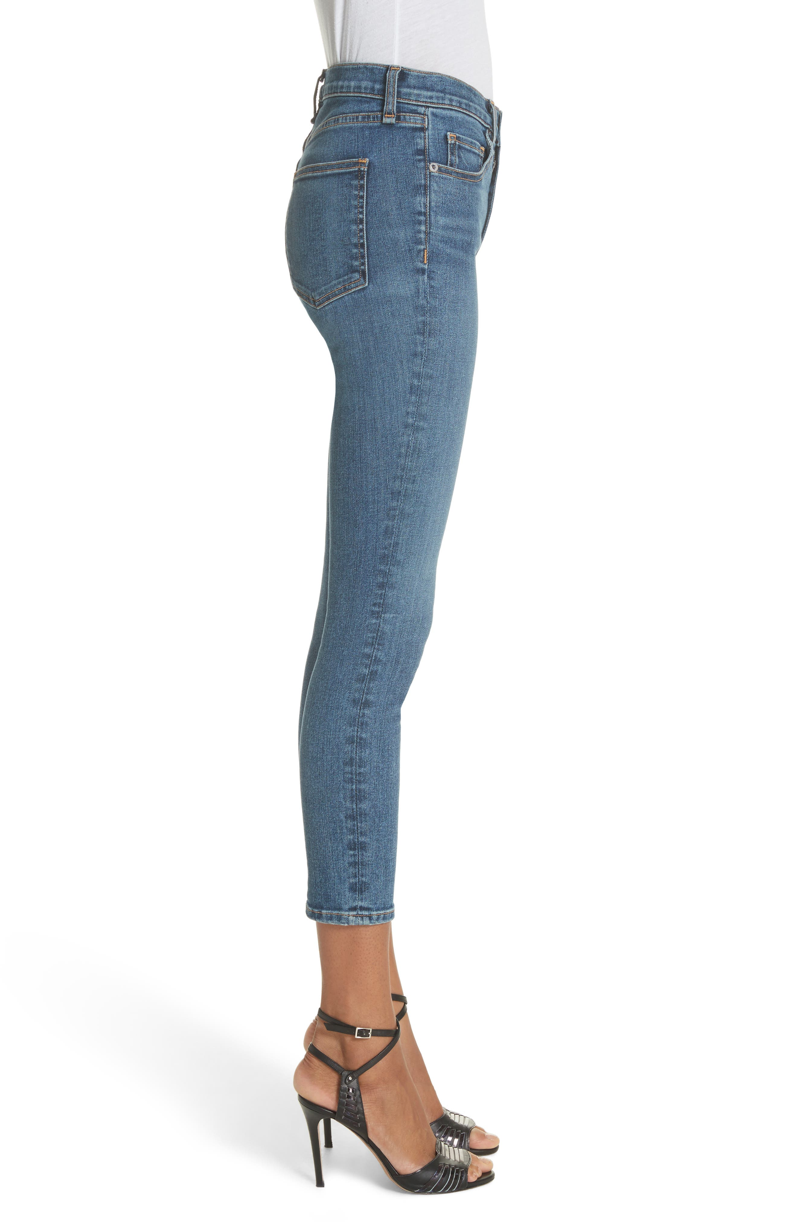 Kate Crop Skinny Jeans,                             Alternate thumbnail 3, color,                             Classic Wash