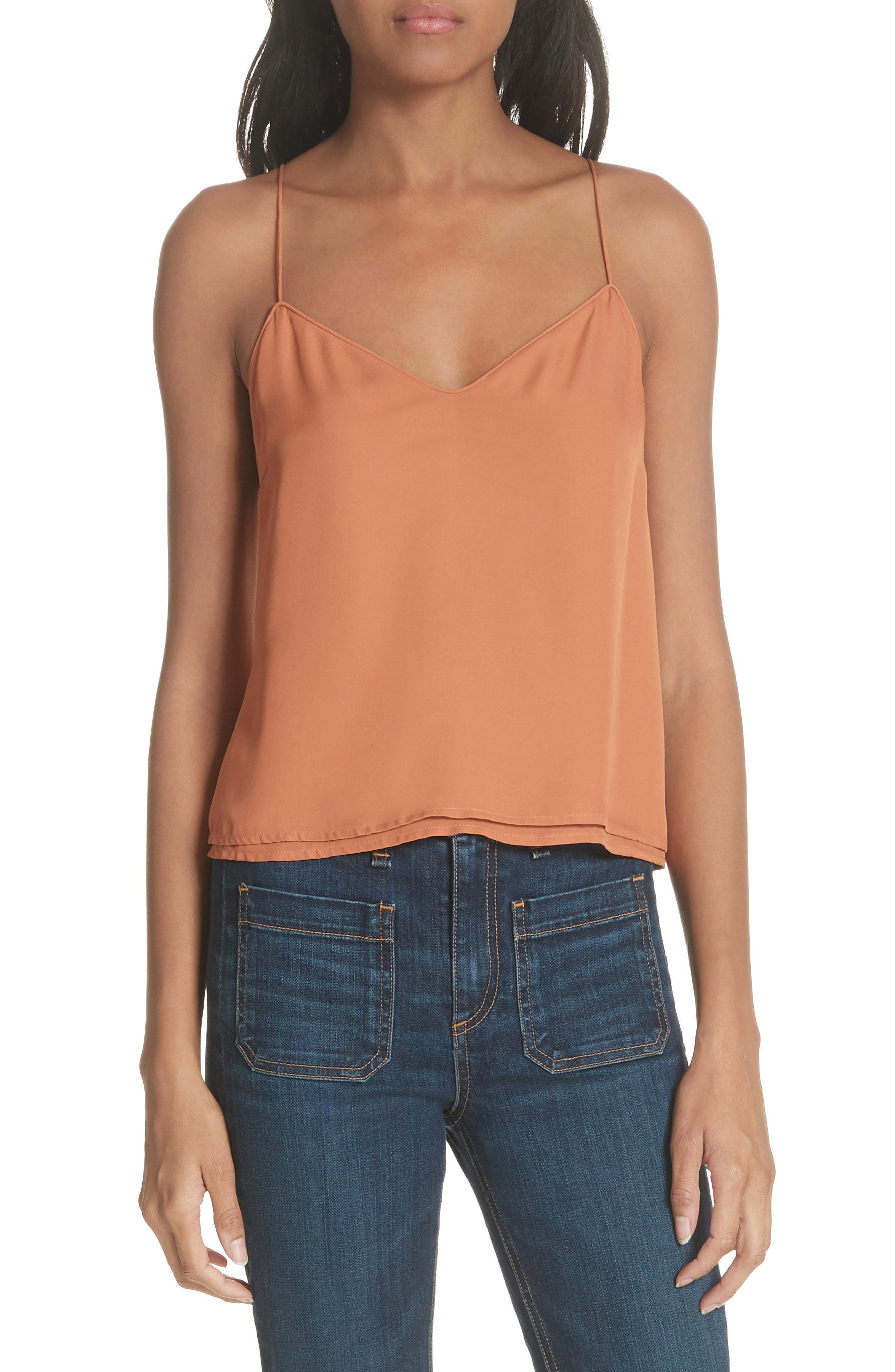 Sonya Silk Camisole,                             Main thumbnail 1, color,                             Copper