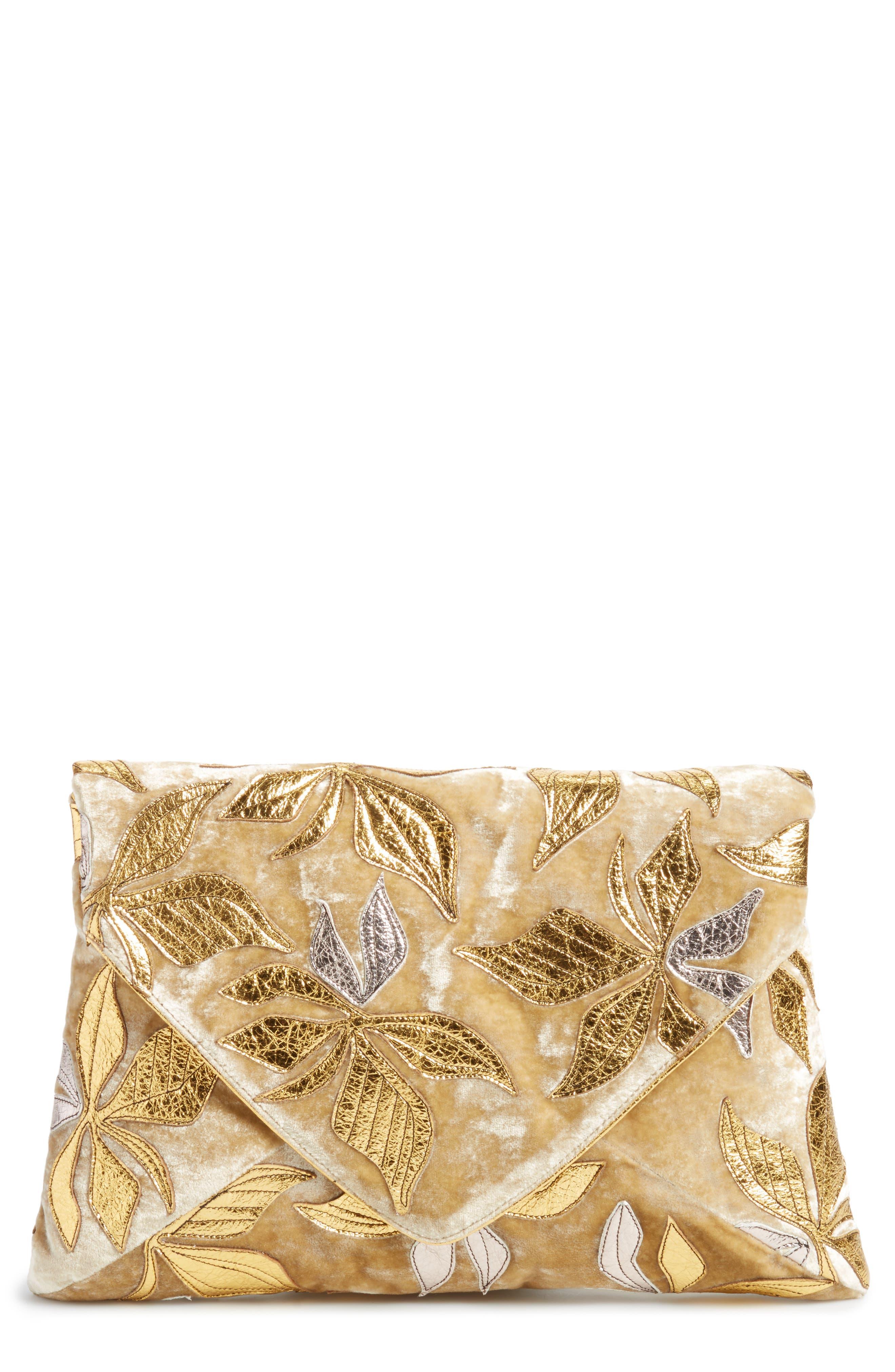 Floral Velvet Envelope Clutch,                             Main thumbnail 1, color,                             Gold/ Green