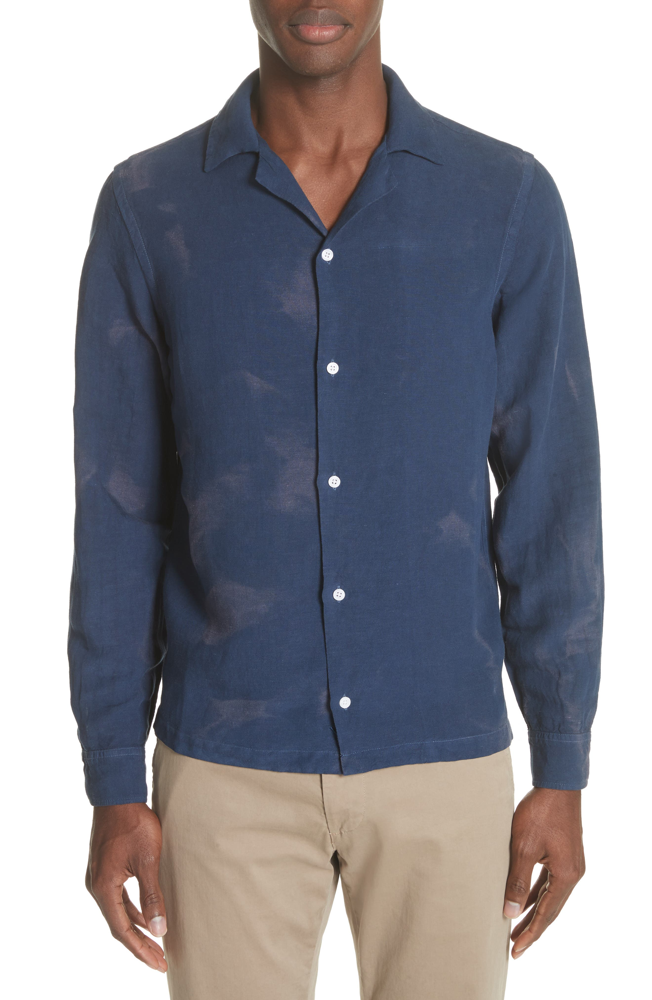 Canty Long Sleeve Camp Shirt,                         Main,                         color, Midnight