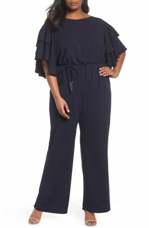 ac9ac022773 Adrianna Papell Flutter Sleeve Crepe Jumpsuit (Plus Size)