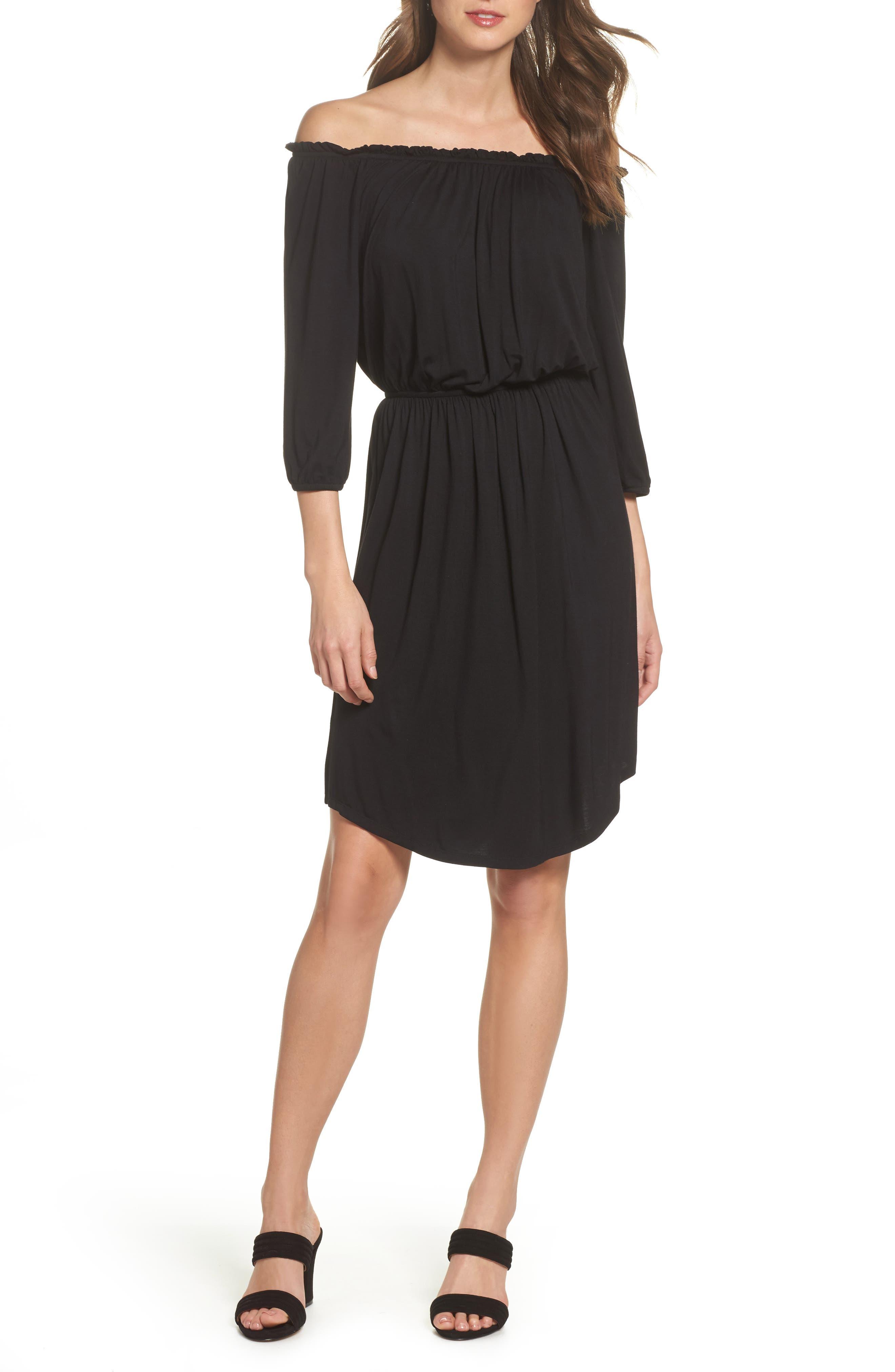 Barrett Off the Shoulder Dress,                         Main,                         color, Black