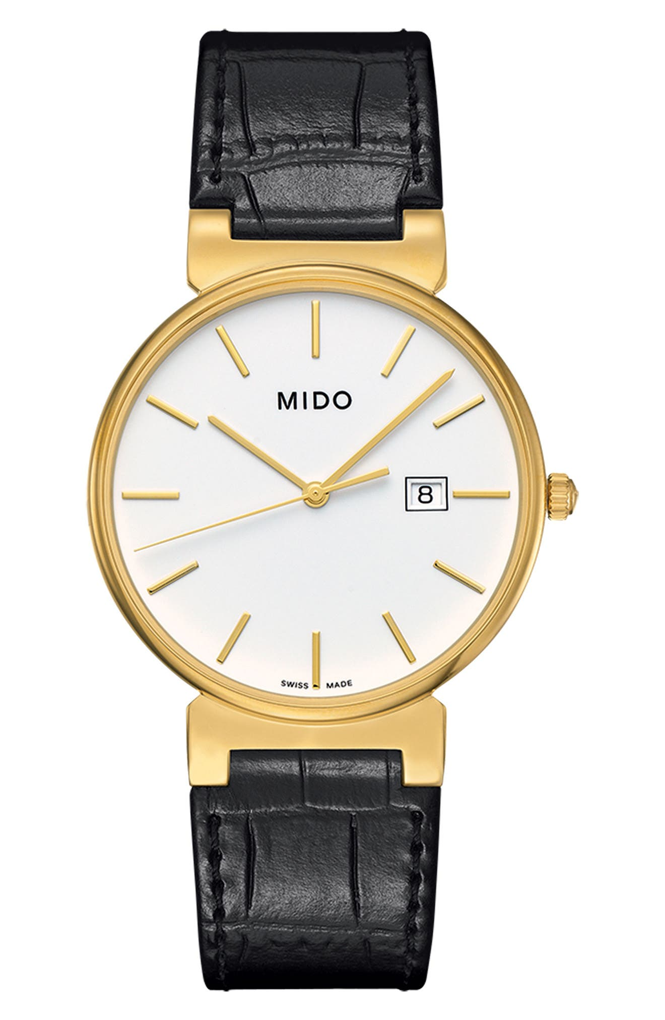 MIDO Dorada Leather Strap Watch, 38mm