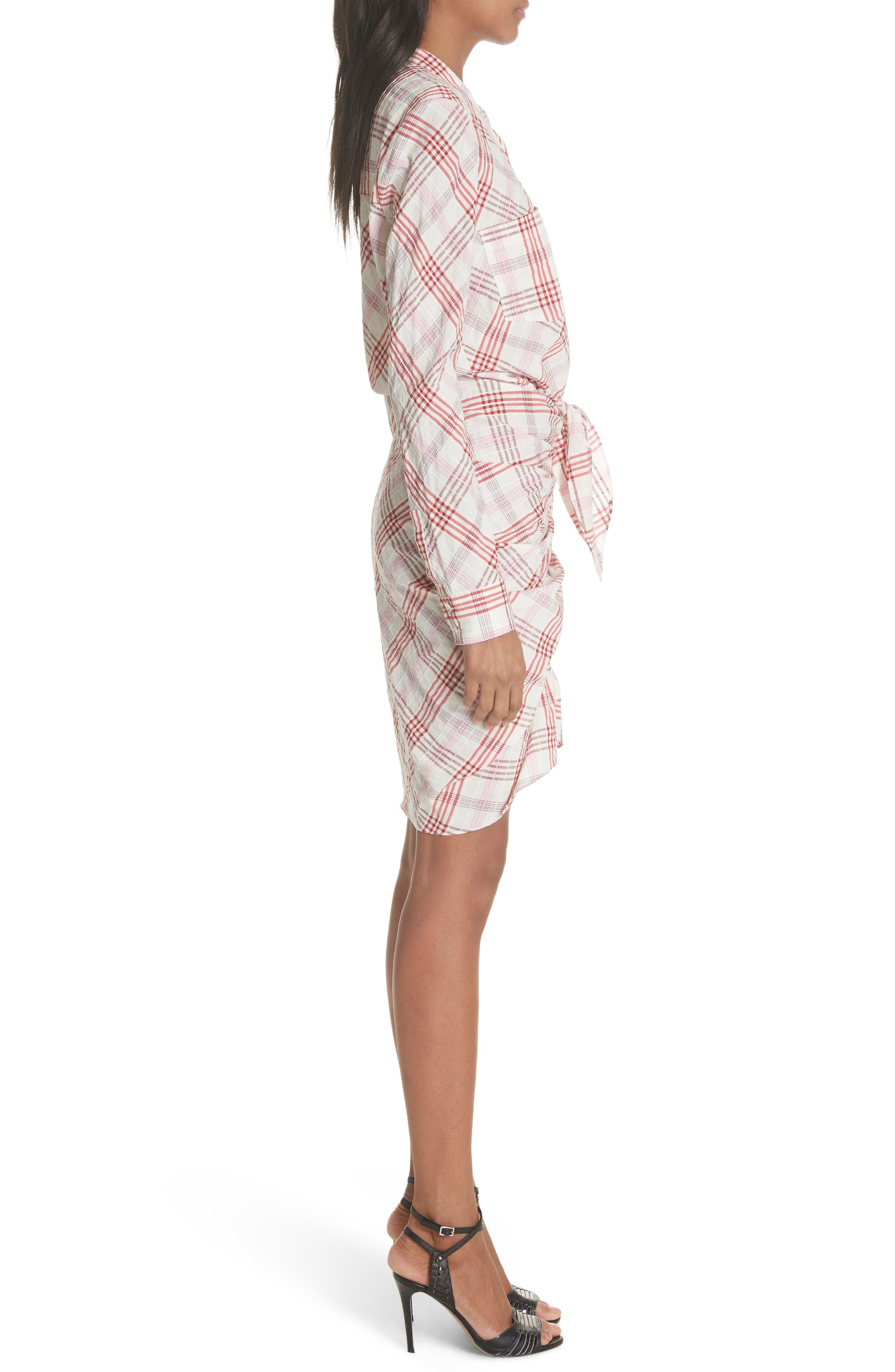 Della Gathered Plaid Dress,                             Alternate thumbnail 3, color,                             Pink