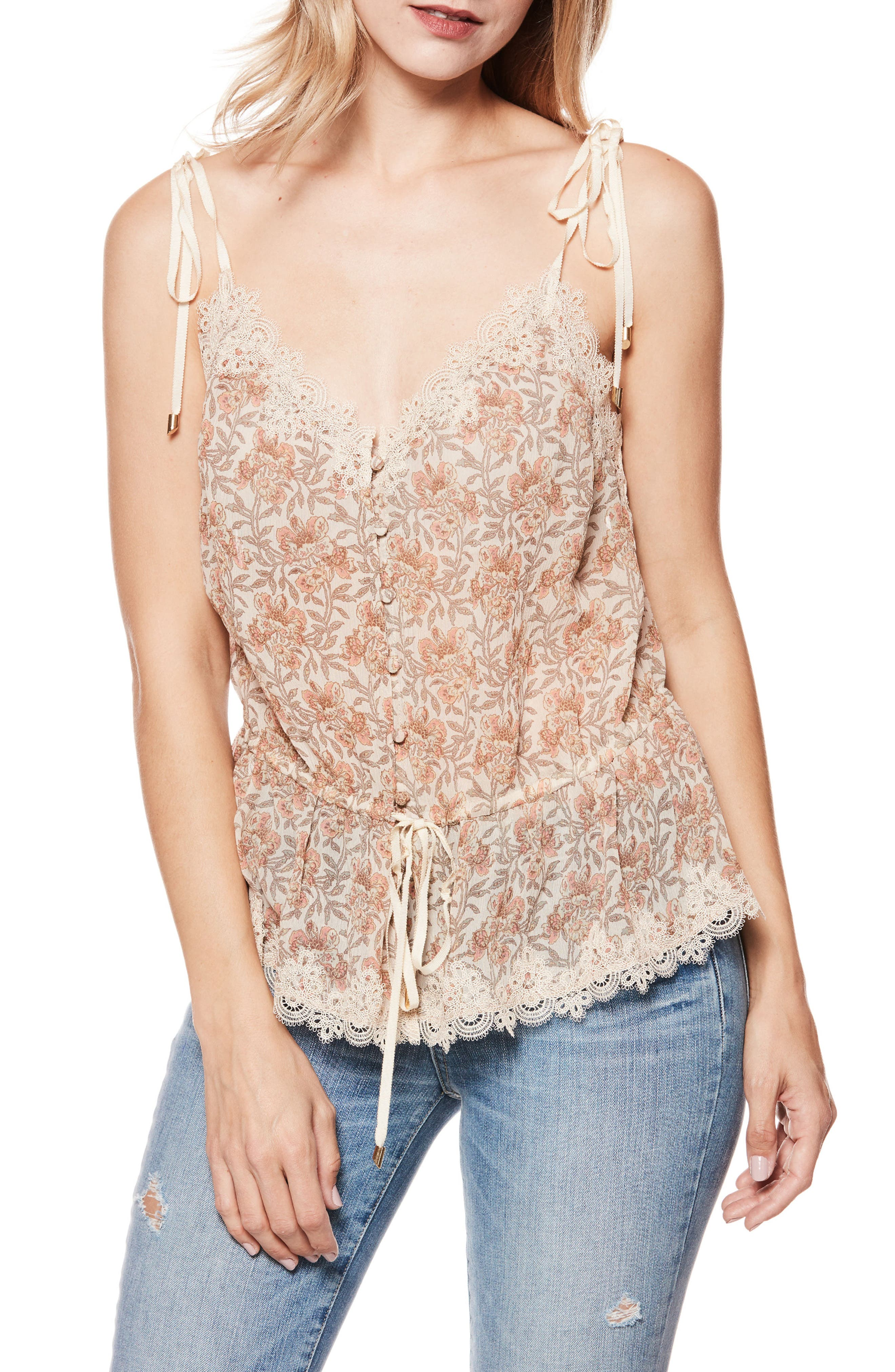 2650651b6090d2 Paige Louisa V-Neck Floral-Print Blouse With Crochet Trim In Desert Sunrise  Floral