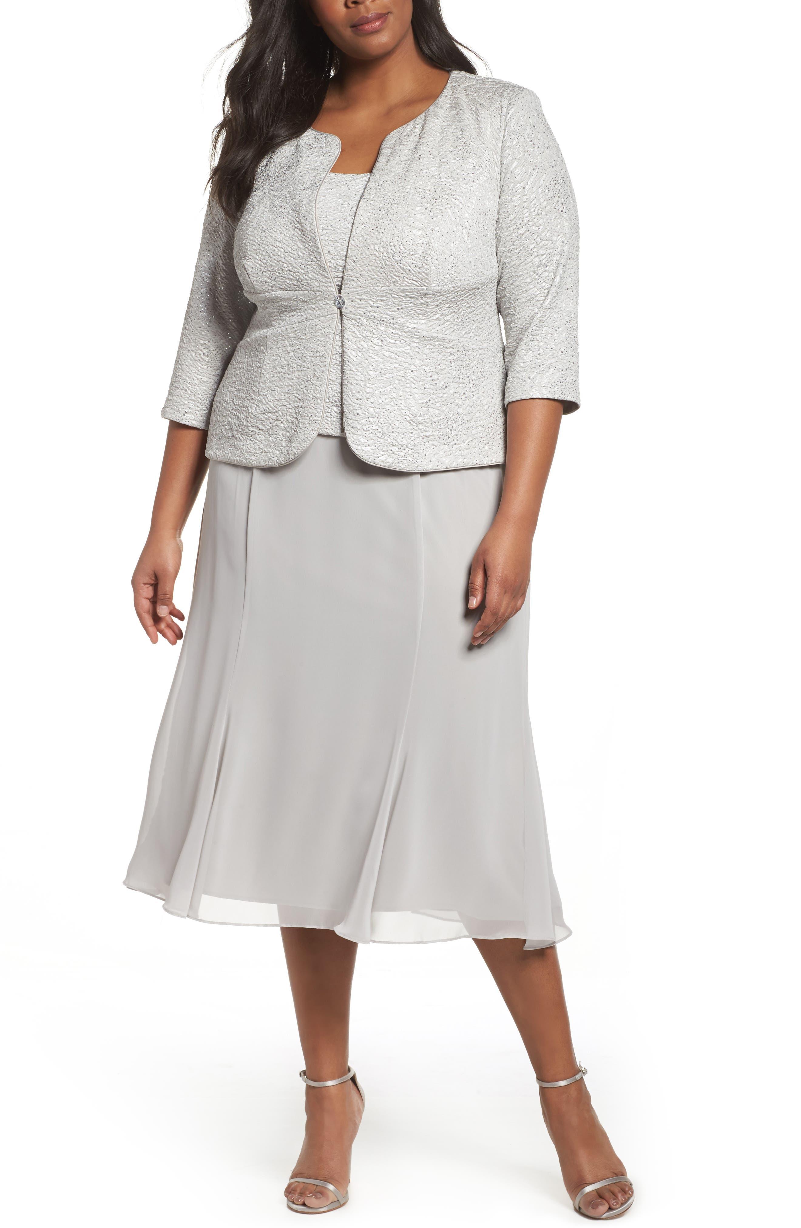 Mock Two-Piece Jacket Dress,                             Main thumbnail 1, color,                             Silver