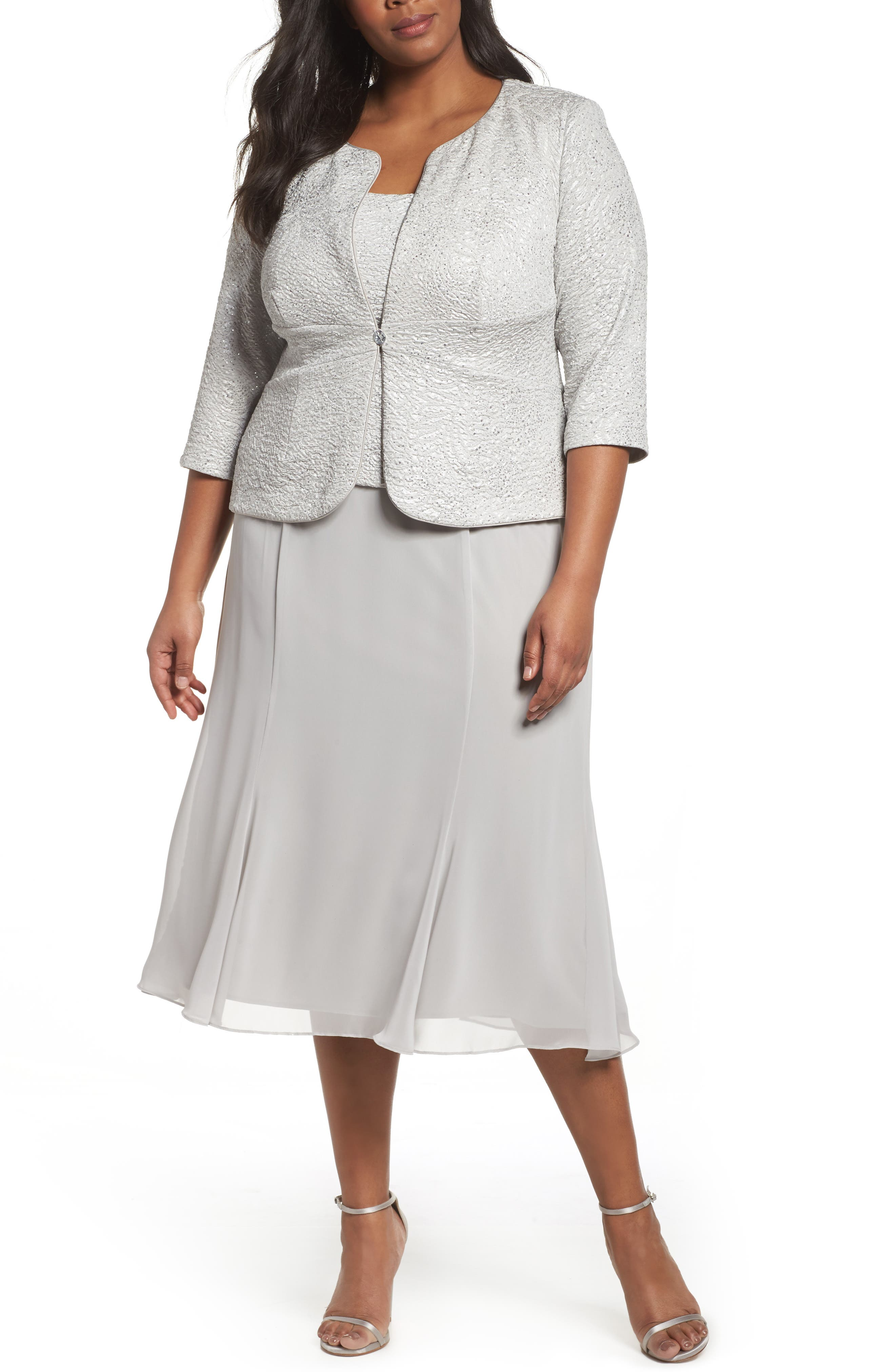 Mock Two-Piece Jacket Dress,                         Main,                         color, Silver