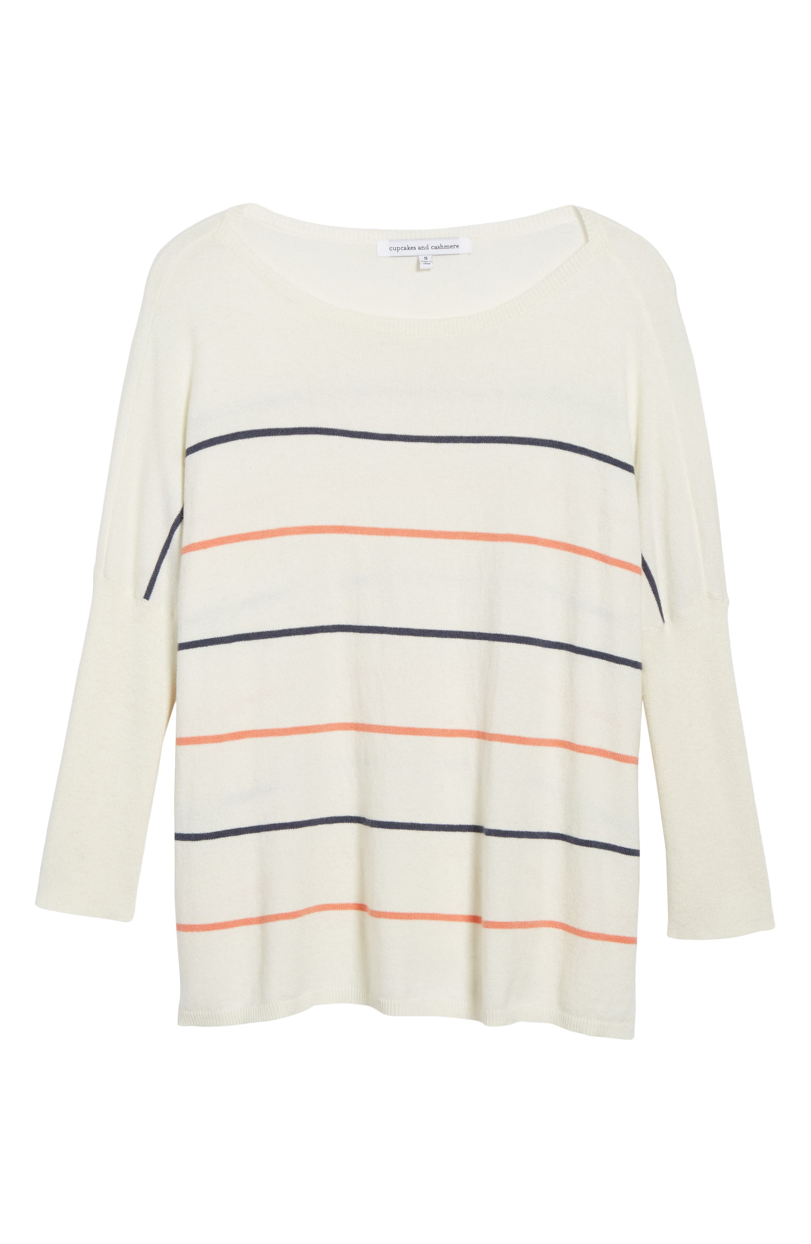 Cascada Stripe Sweater,                             Alternate thumbnail 6, color,                             Ivory