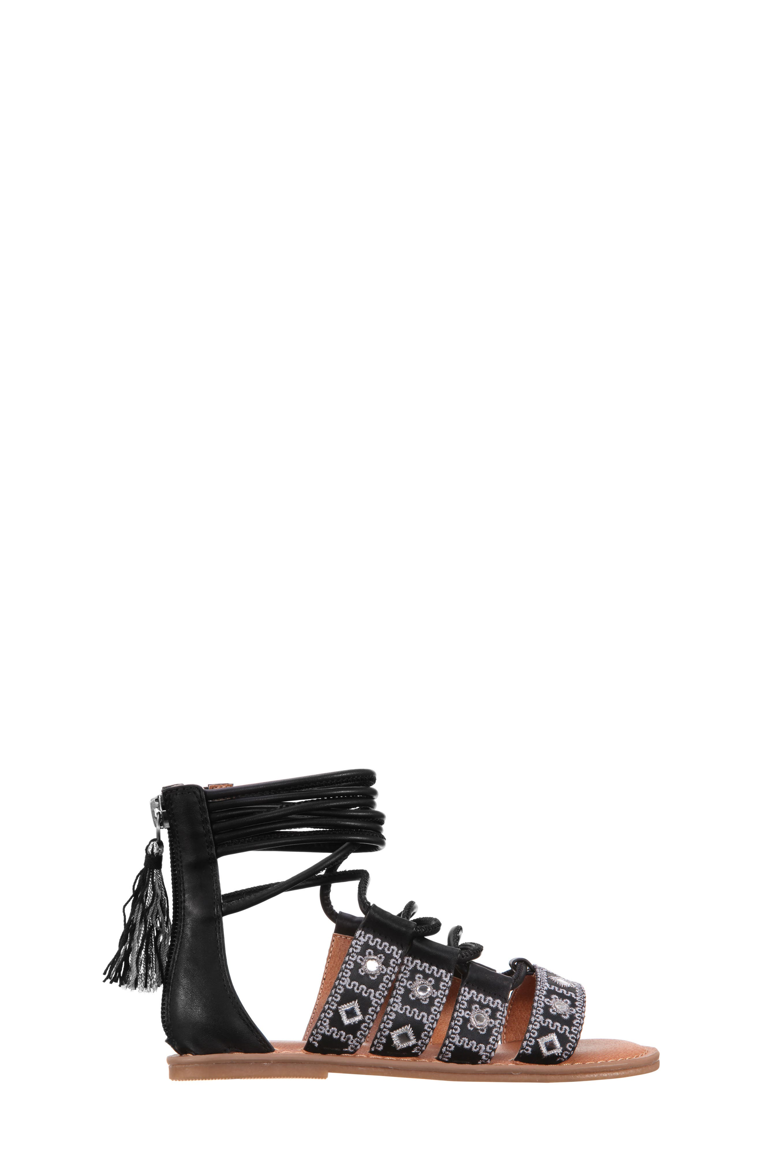 Sherryll Embellished Gladiator Sandal,                             Alternate thumbnail 2, color,                             Black Smooth