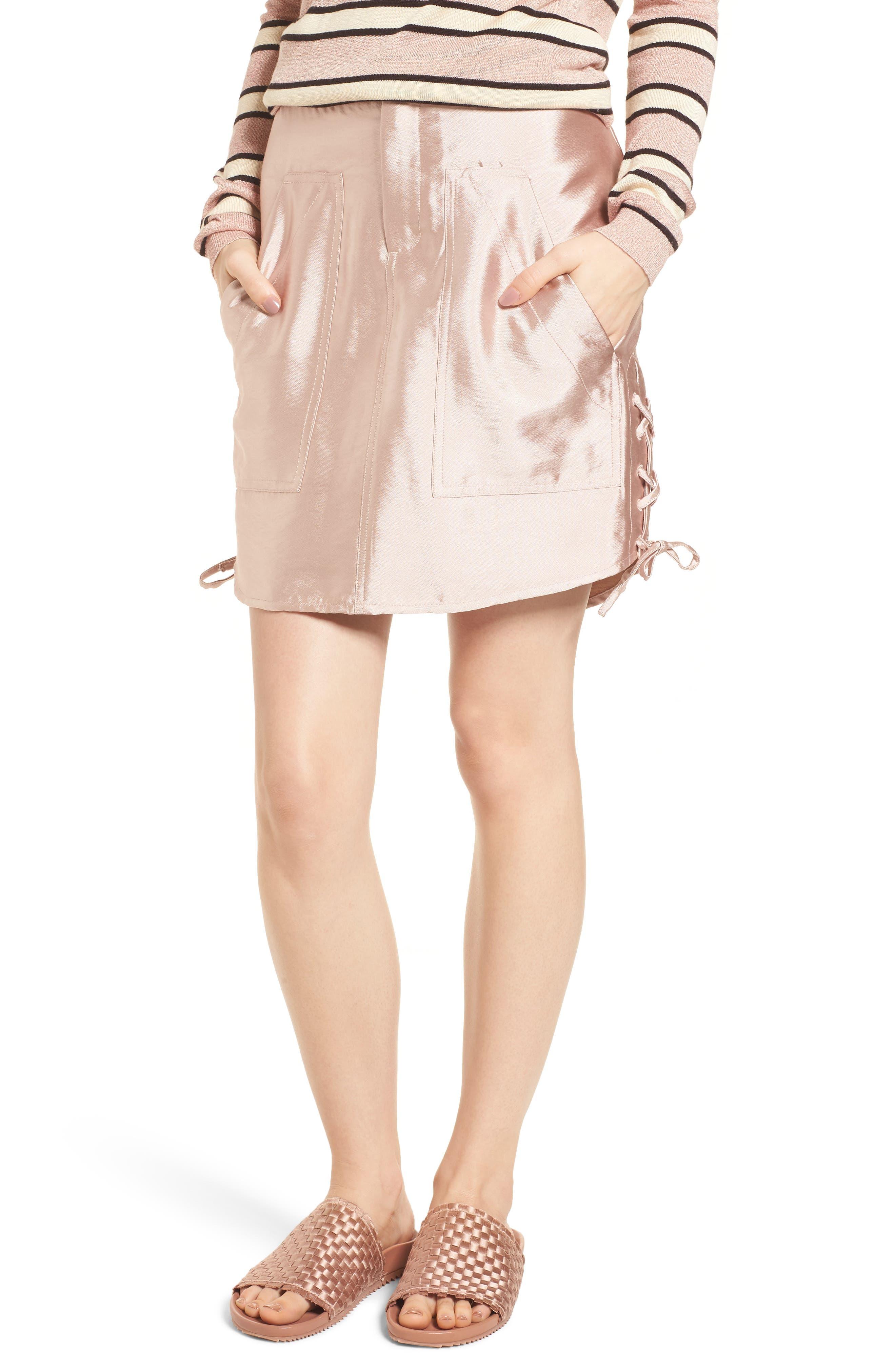 Shiny Safari Skirt,                             Main thumbnail 1, color,                             Pink Sand